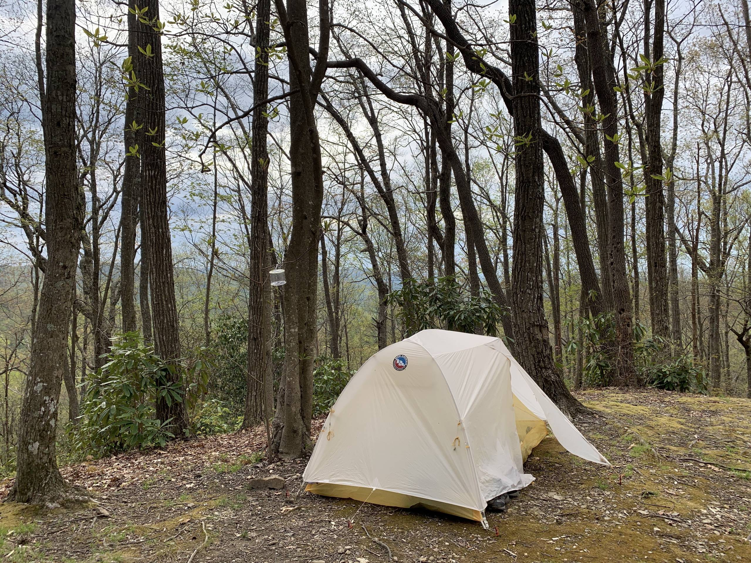 big agnes solution dyed tiger wall UL tent pitched at camp on AT
