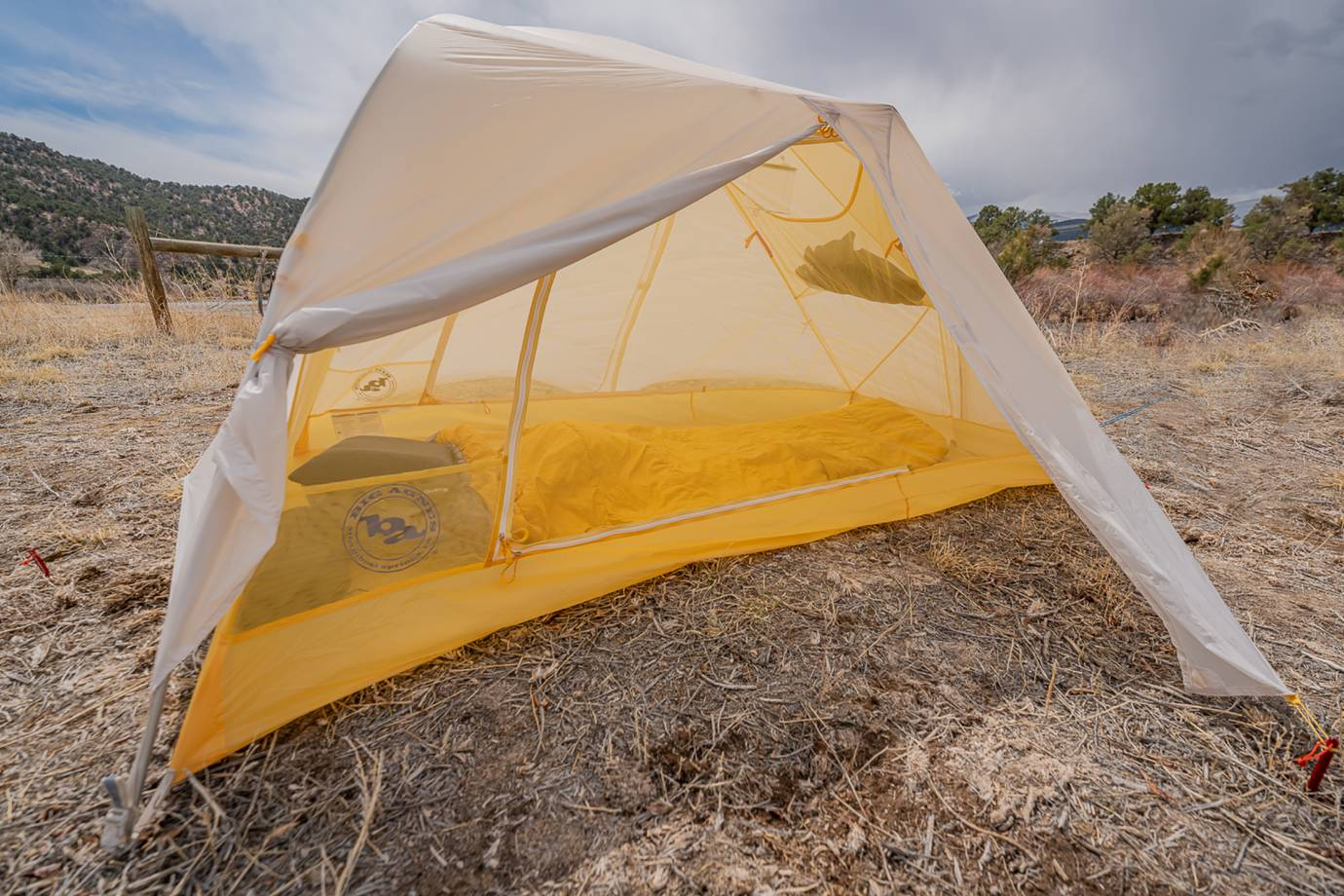 big agnes tiger wall UL solution dyed yellow tent in the sun