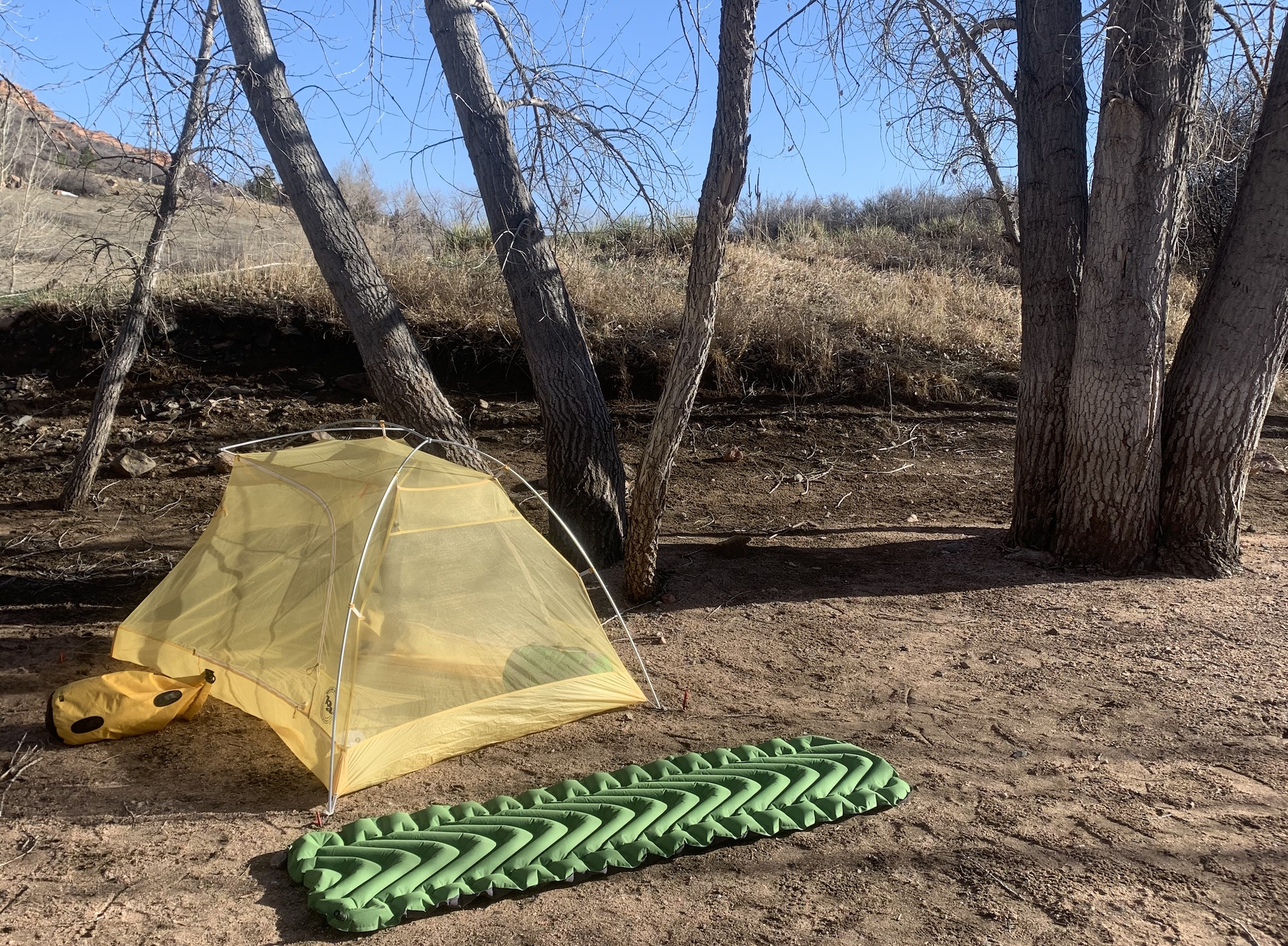 big agnes tiger wall UL tent body pitched with sleeping pad on ground