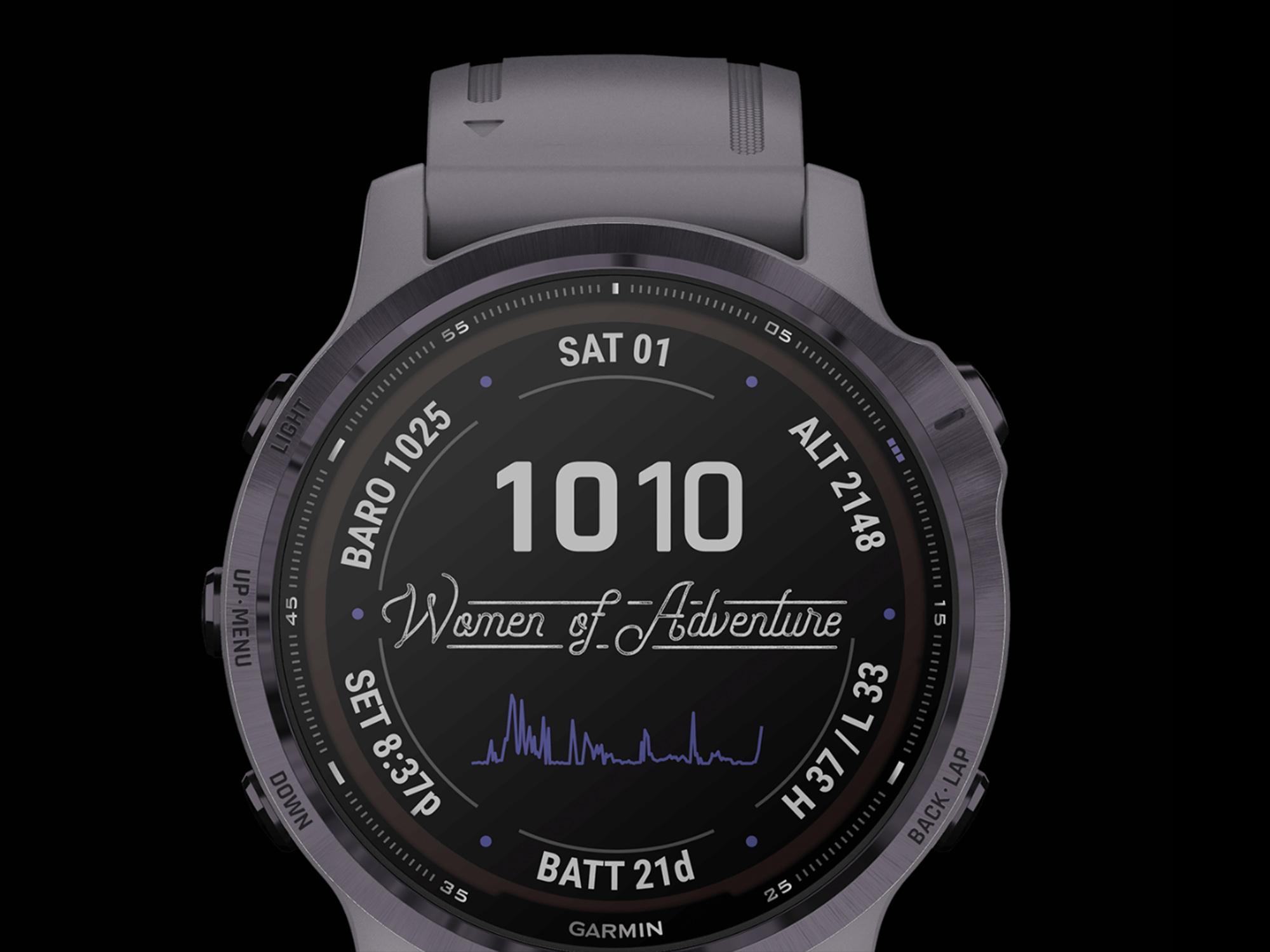 Screen on Garmin Fenix 6S sports watch against a black background