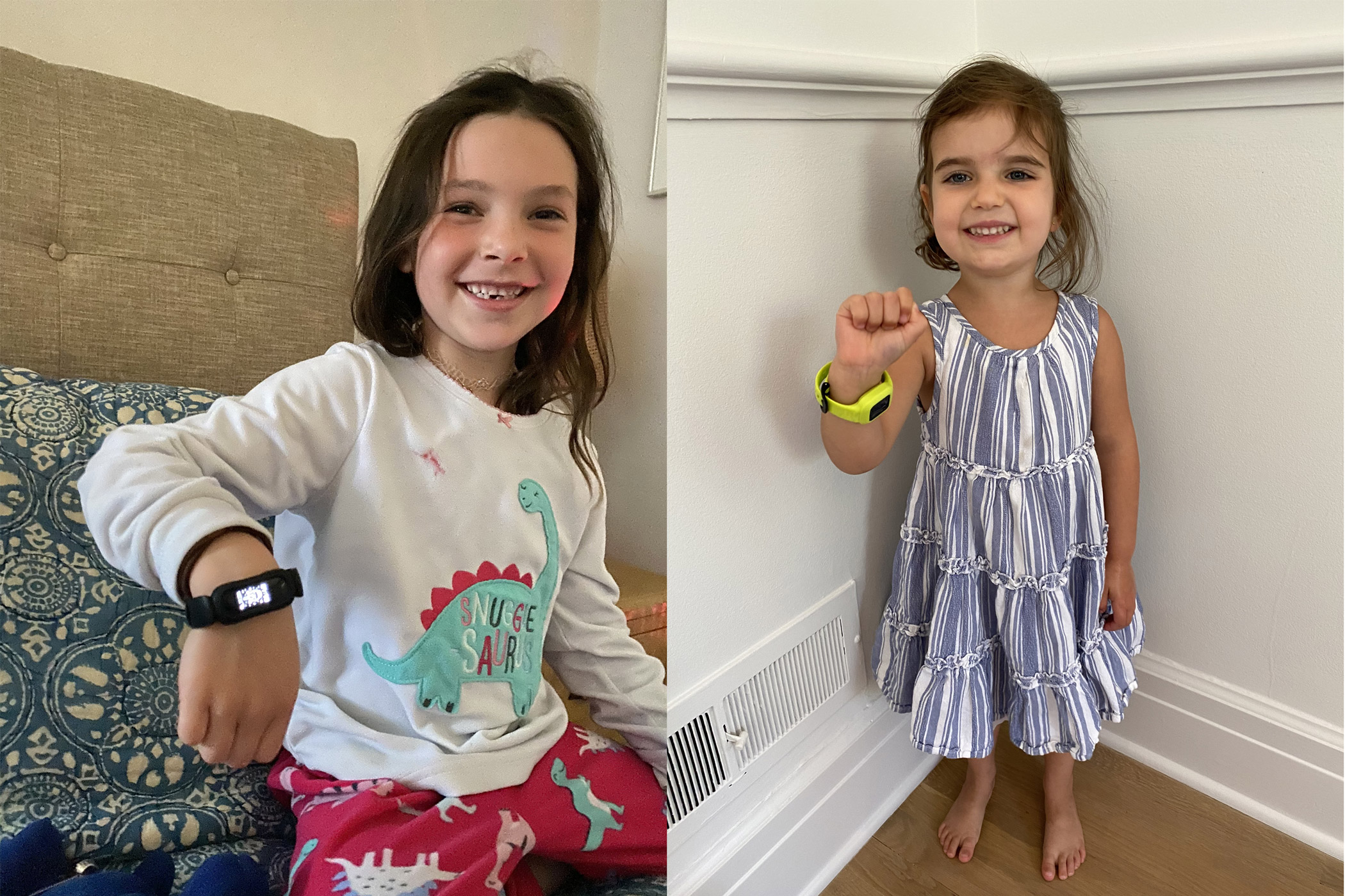 2 girls wearing fitness trackers