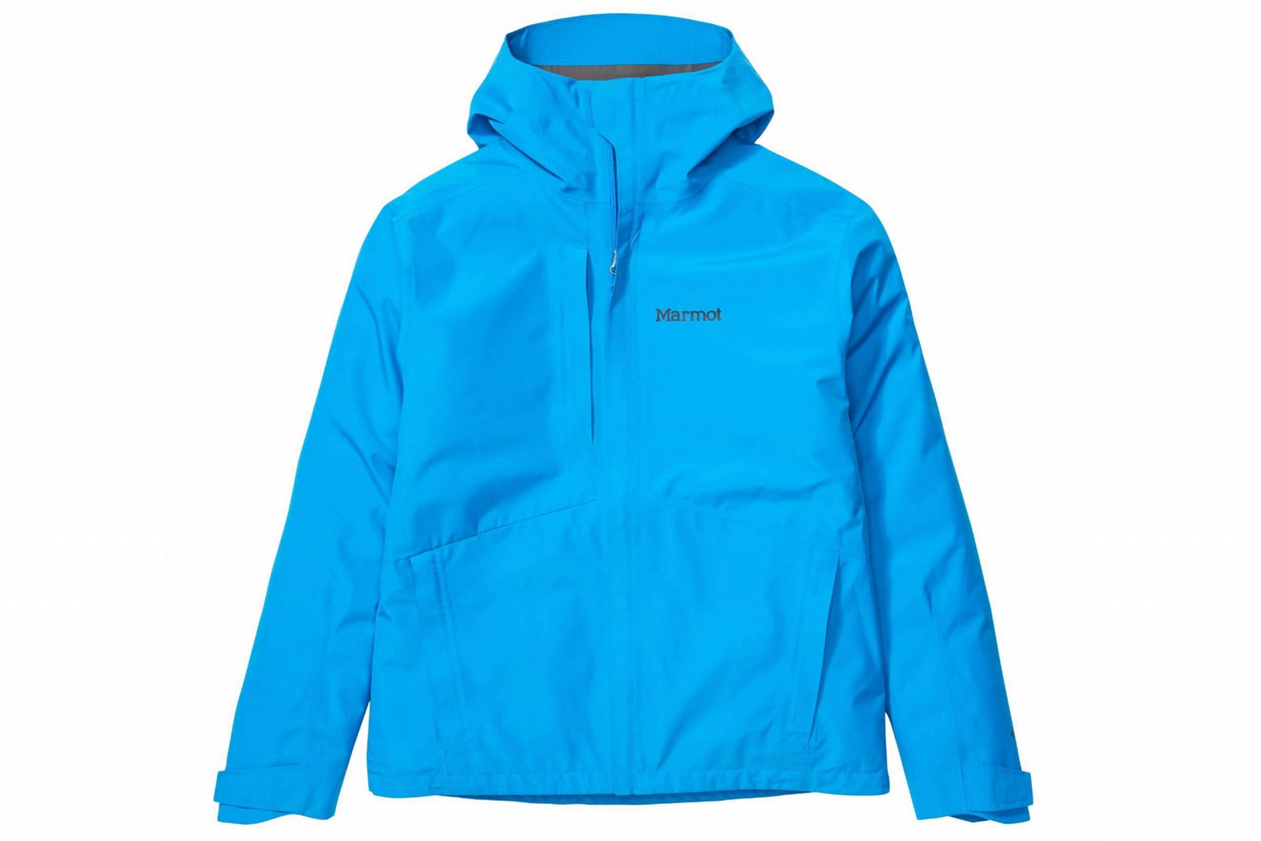 bright blue marmot rain jacket against white background