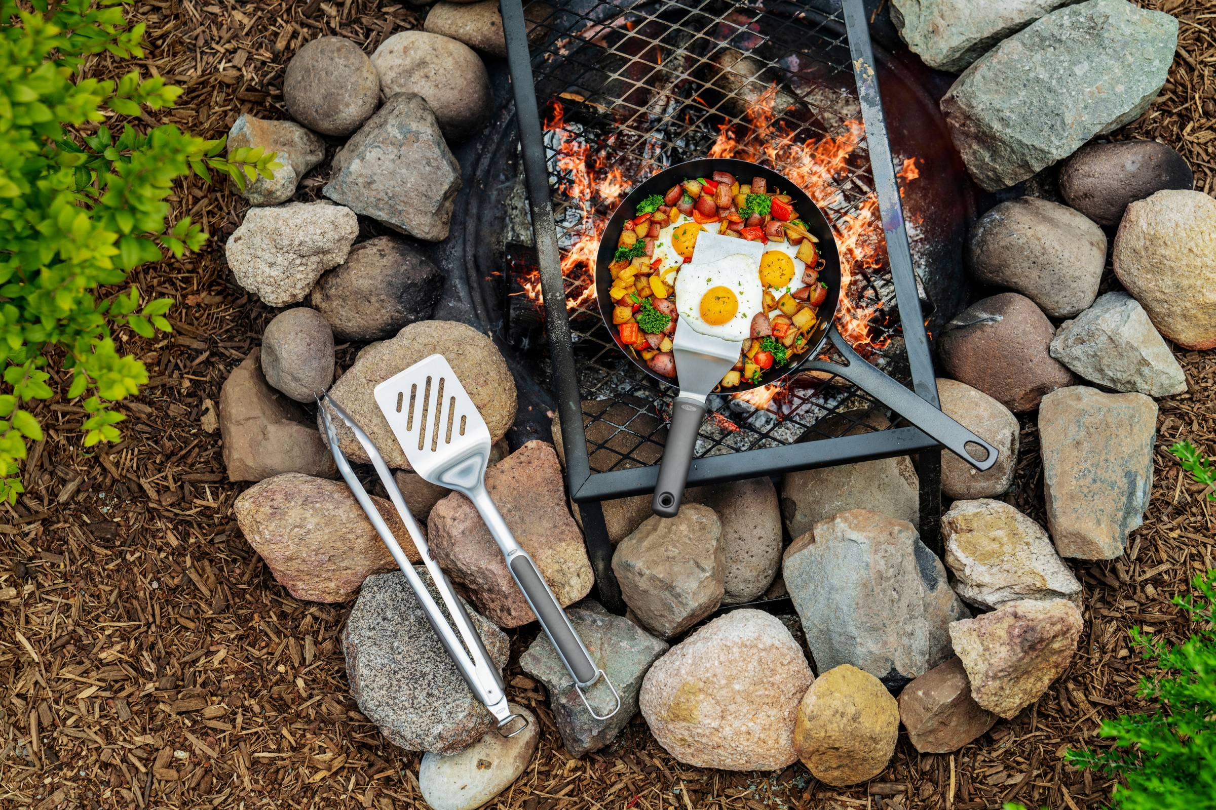 Frying pan on campfire