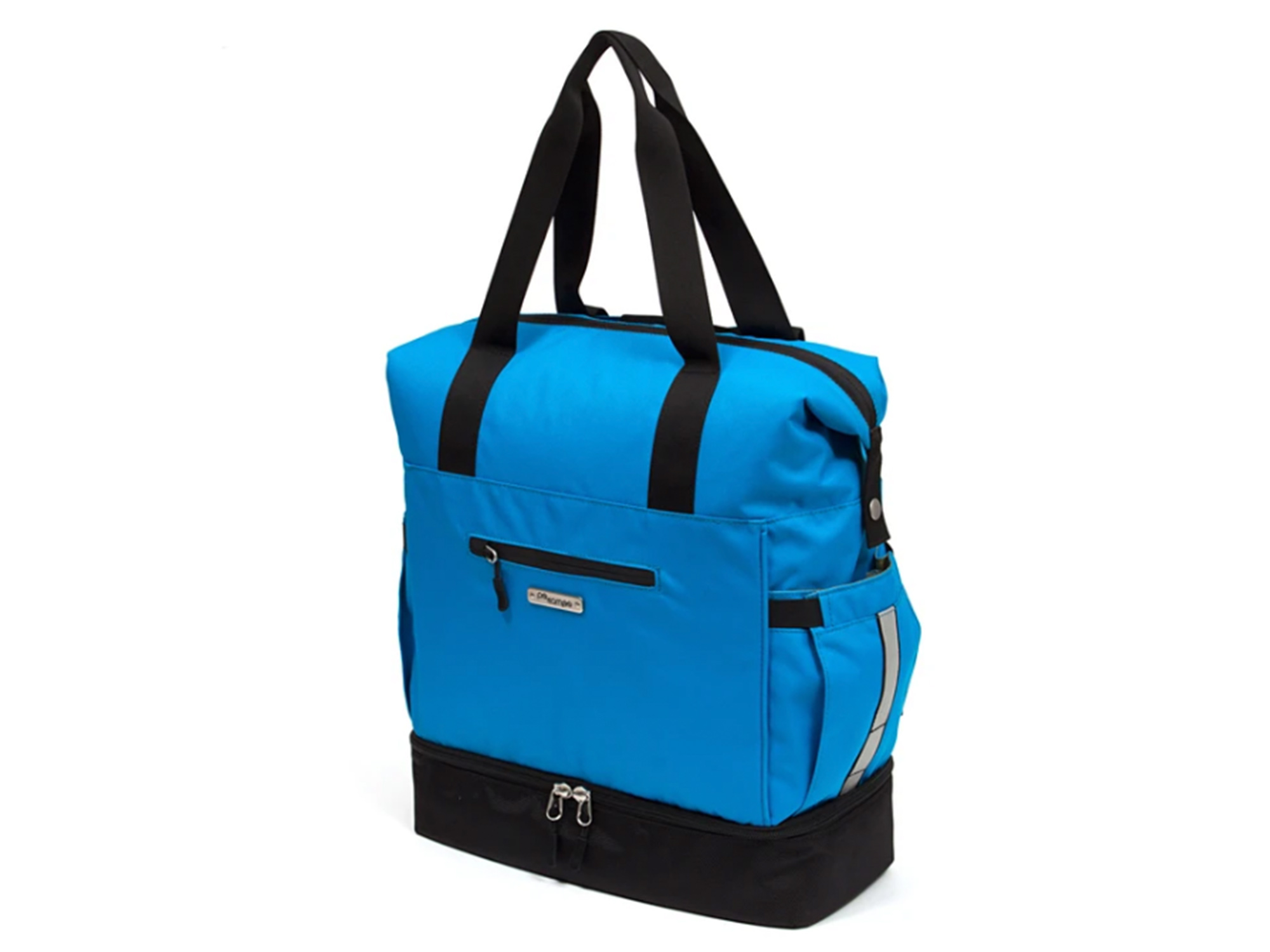 po campo pannier bag in blue with tote handles and backpack straps