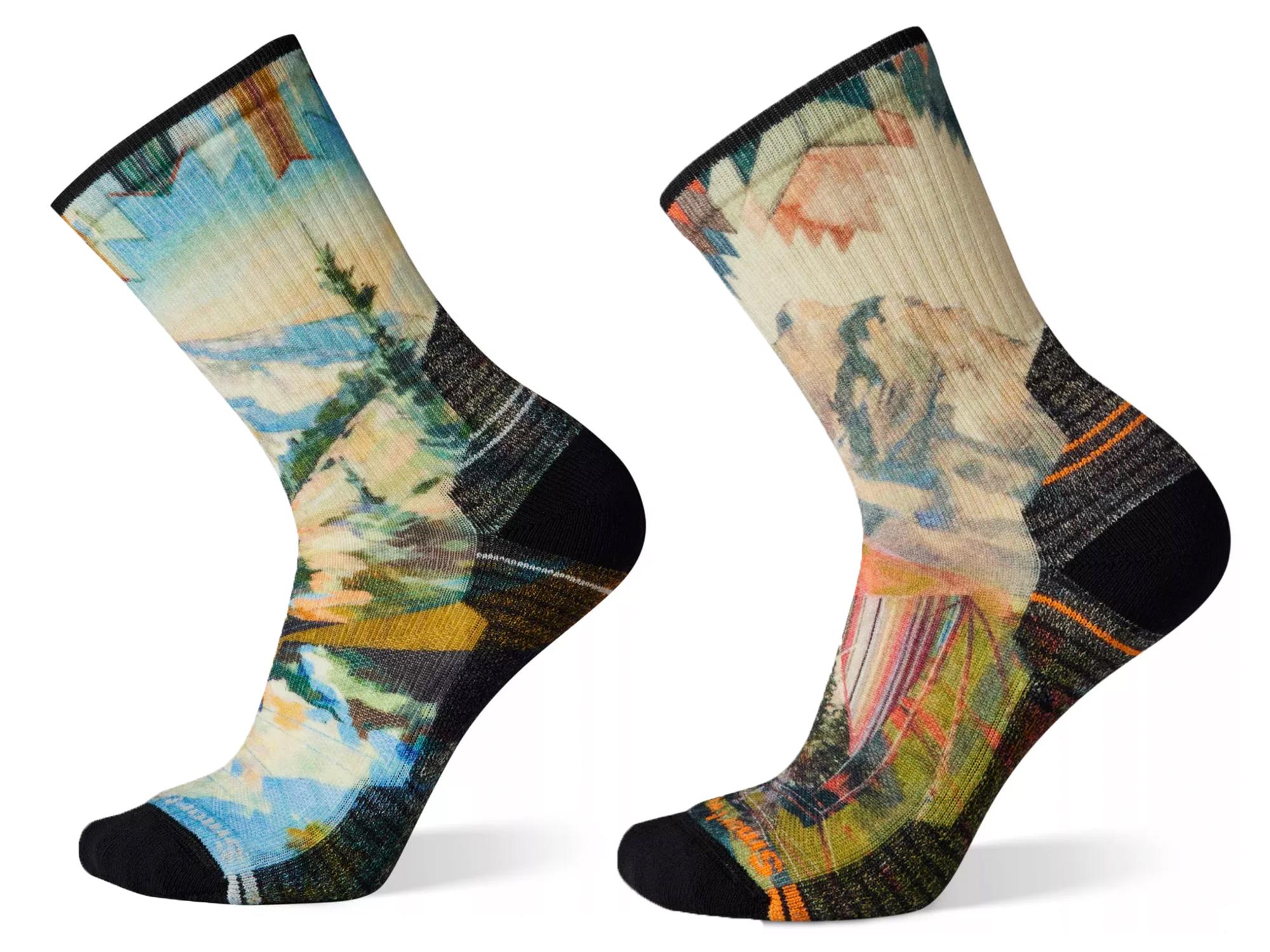 smartwool Hike Light Crew Socken mit Bergaufdruck