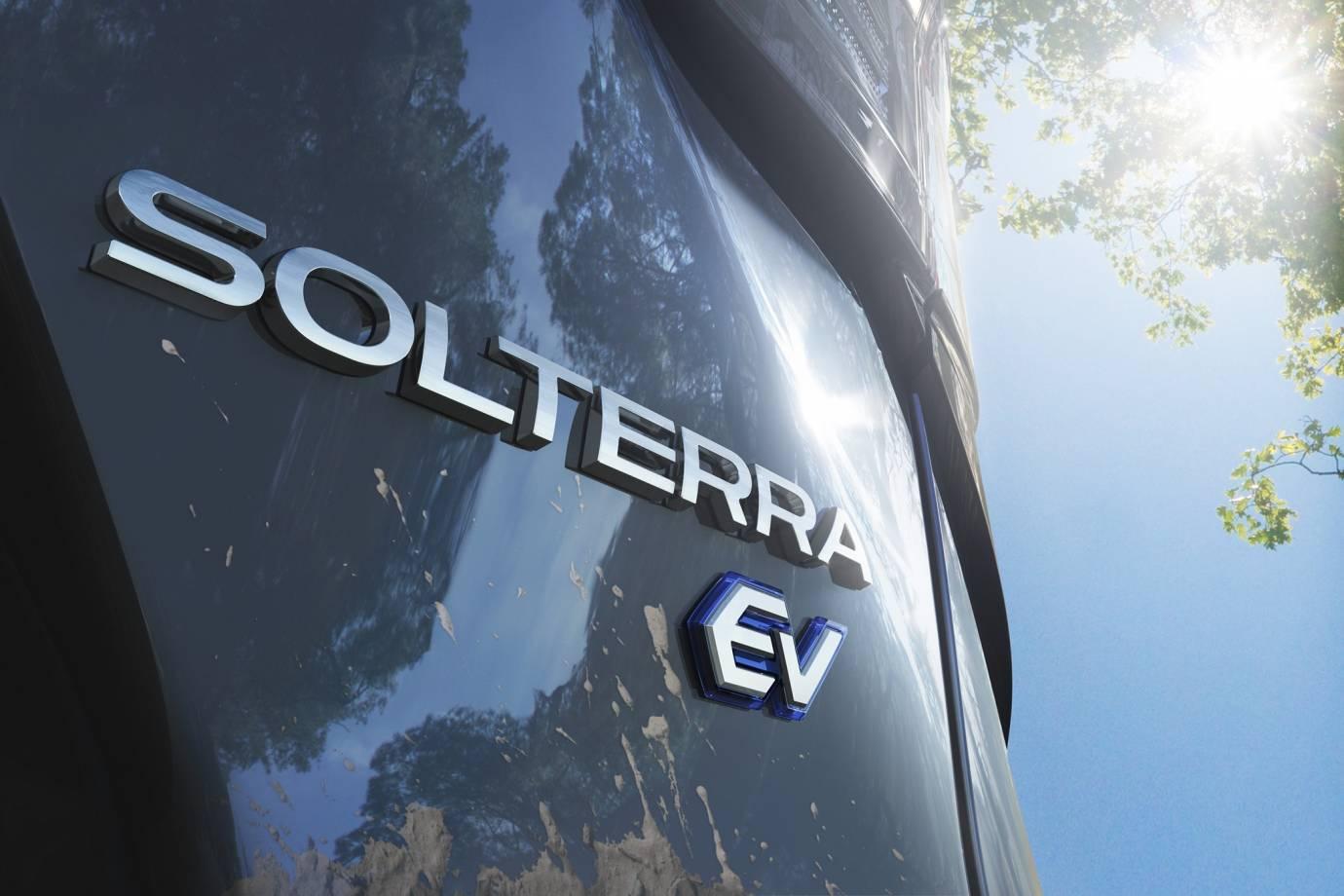 Solterra Subaru logo on close up of SUV