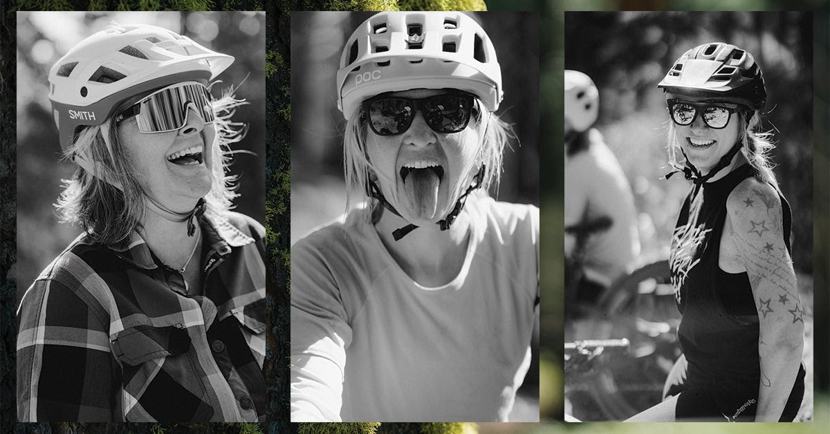 Three headshots in black and white of women in helmets