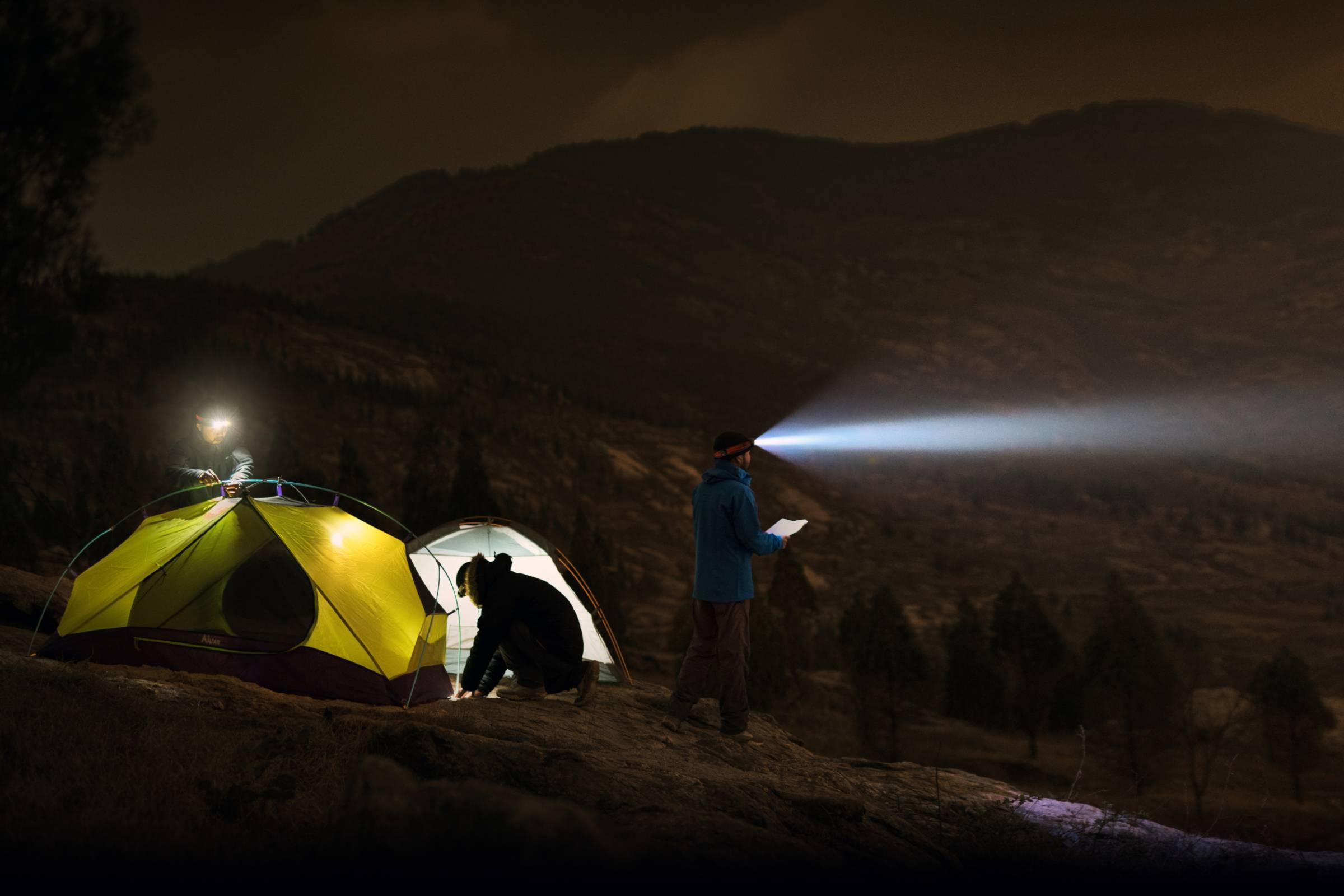 Fenix headlamp illuminates dark campsite