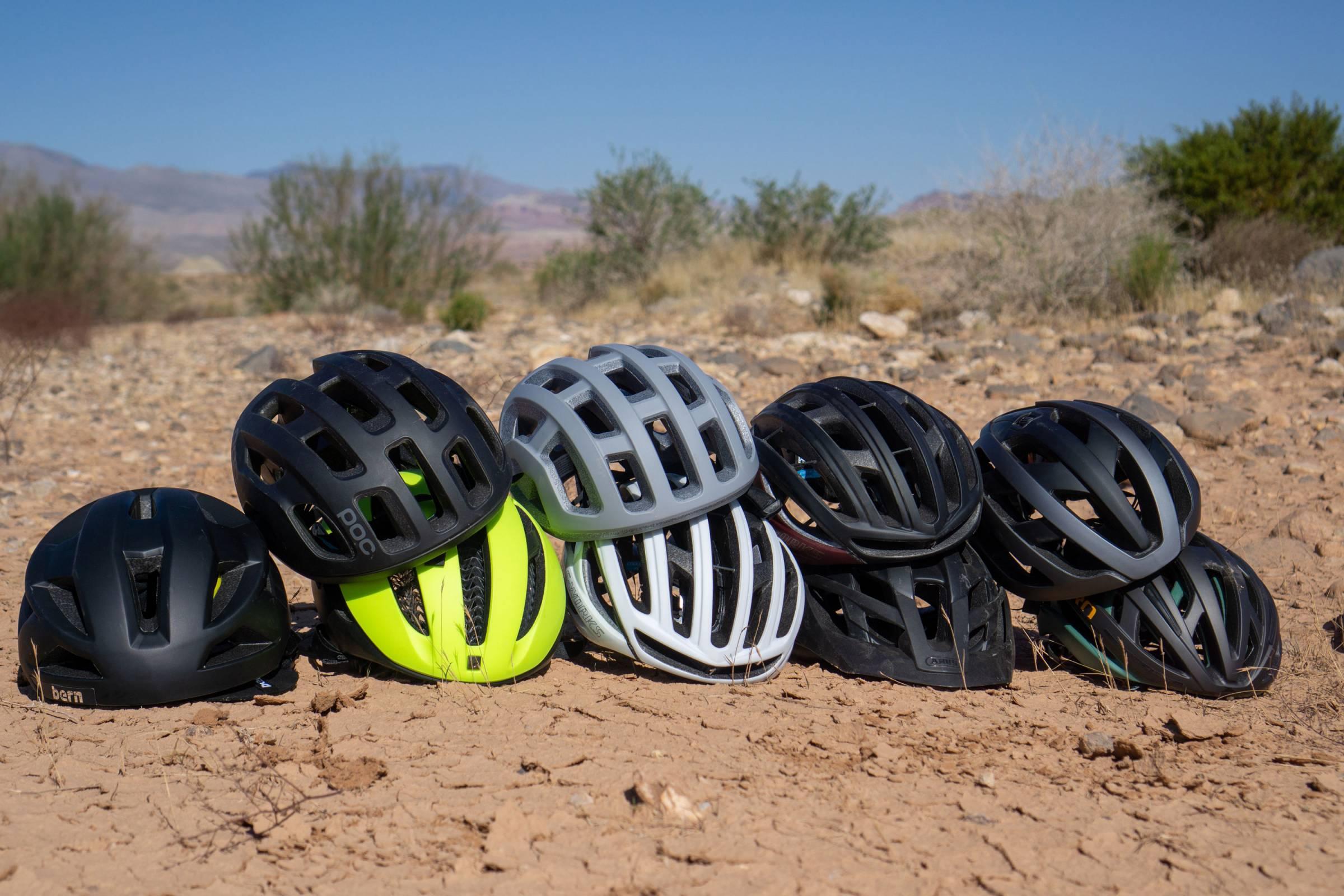 group of gravel bike helmets