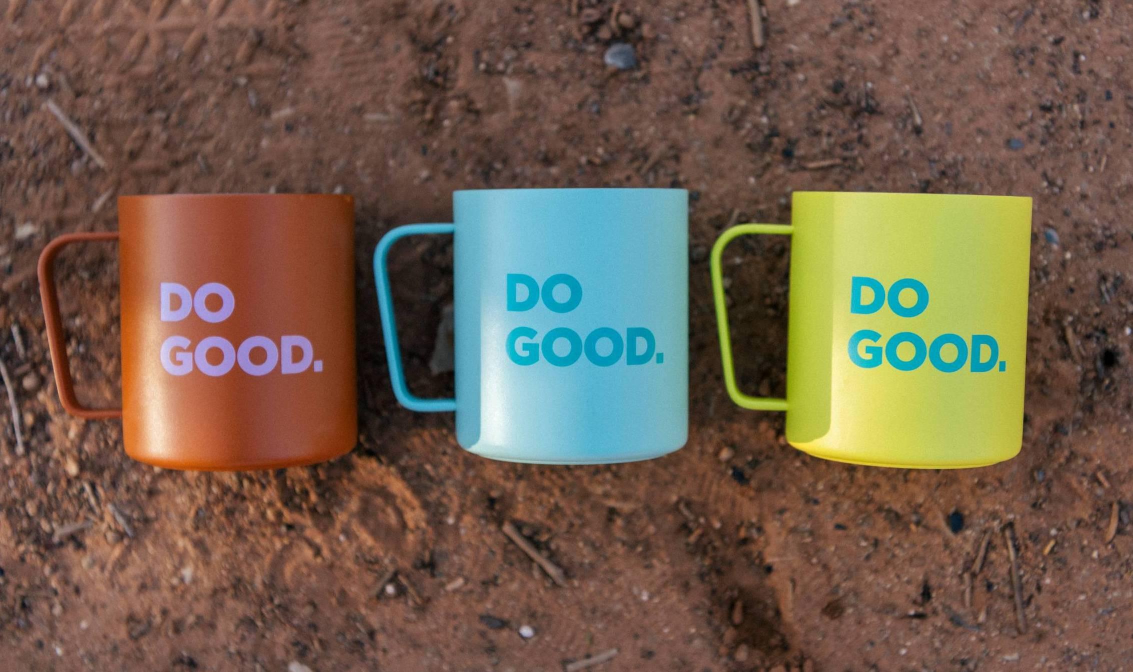 """Cotopaxi and MiiR """"Do Good"""" camp mugs"""