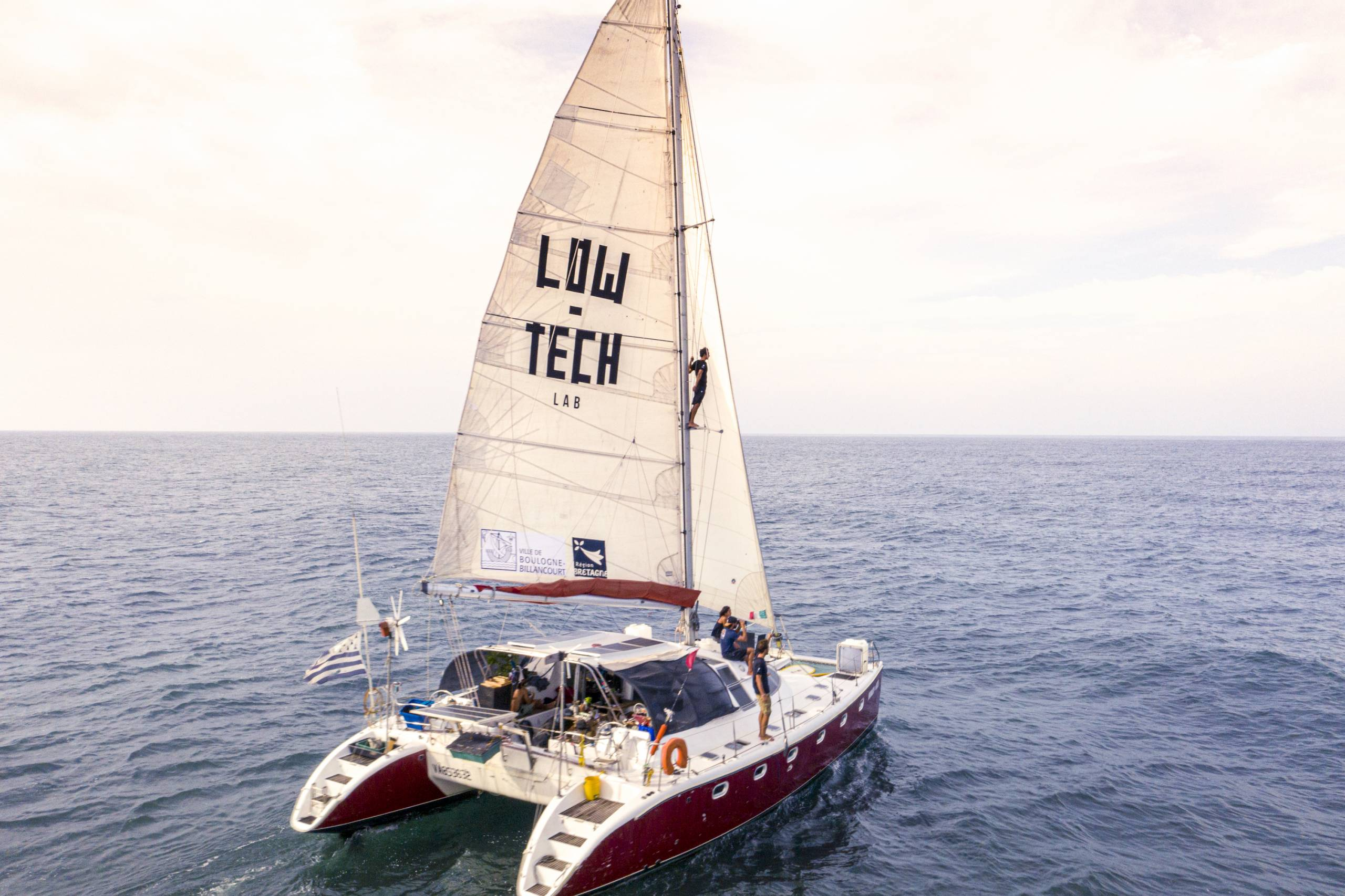 LowTech Lab sustainable sailboat off coast of Mexico
