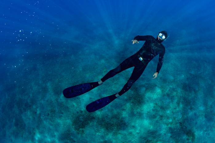 freediving wetsuit fins and mask