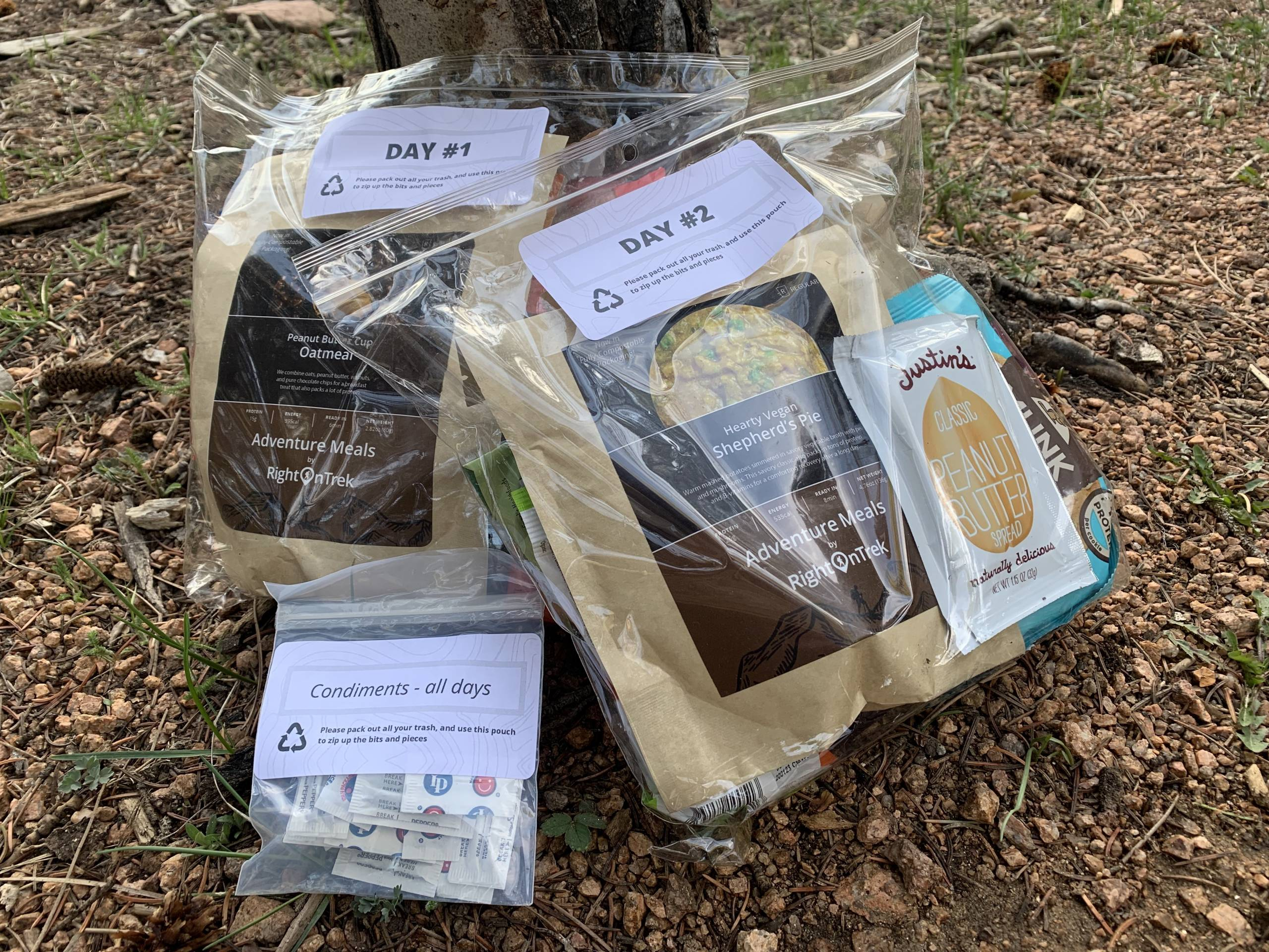 backpacking meal kit packaged and labeled by day