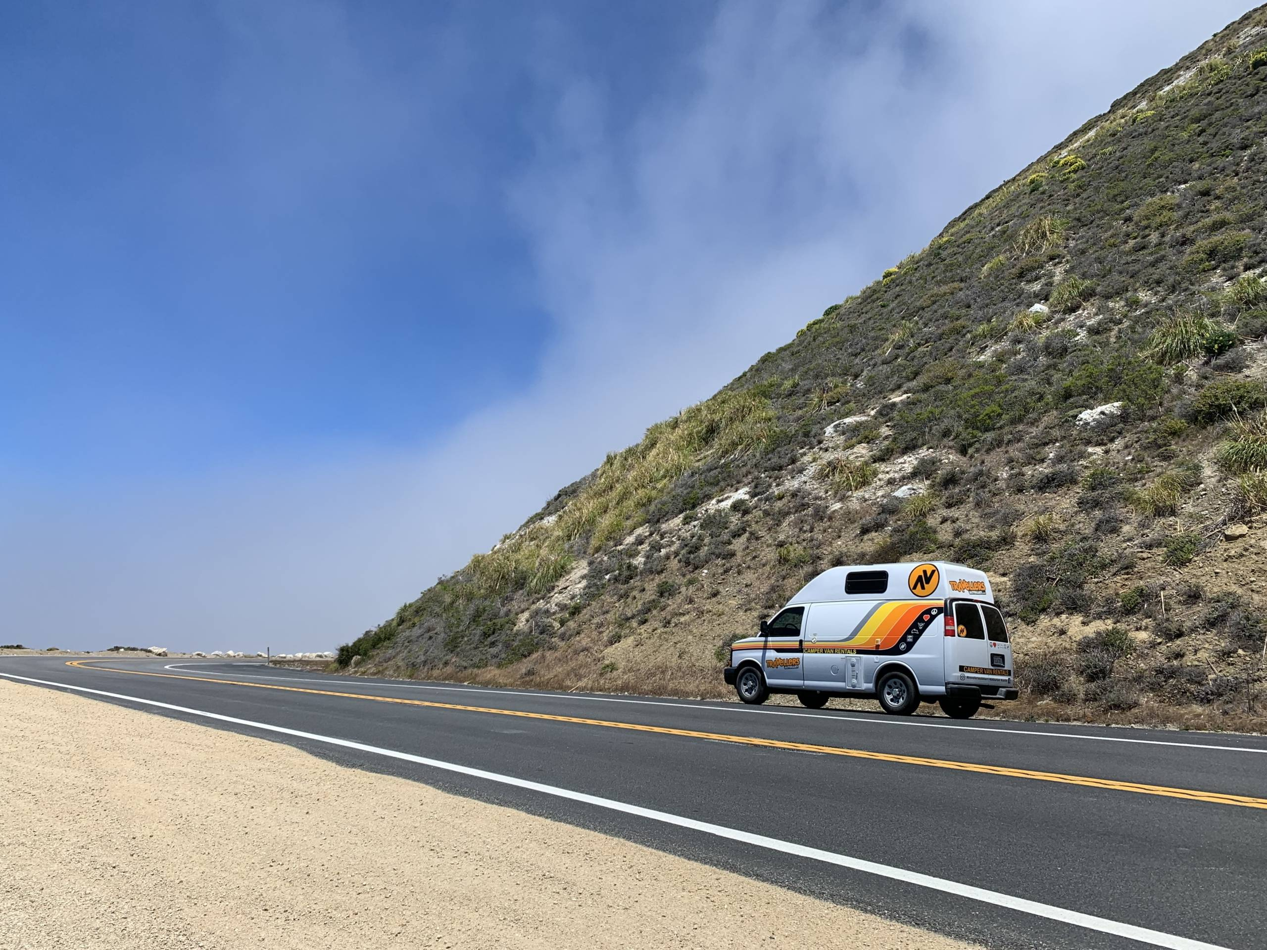 the Kuga Campervan parked along California's pacific coast highway