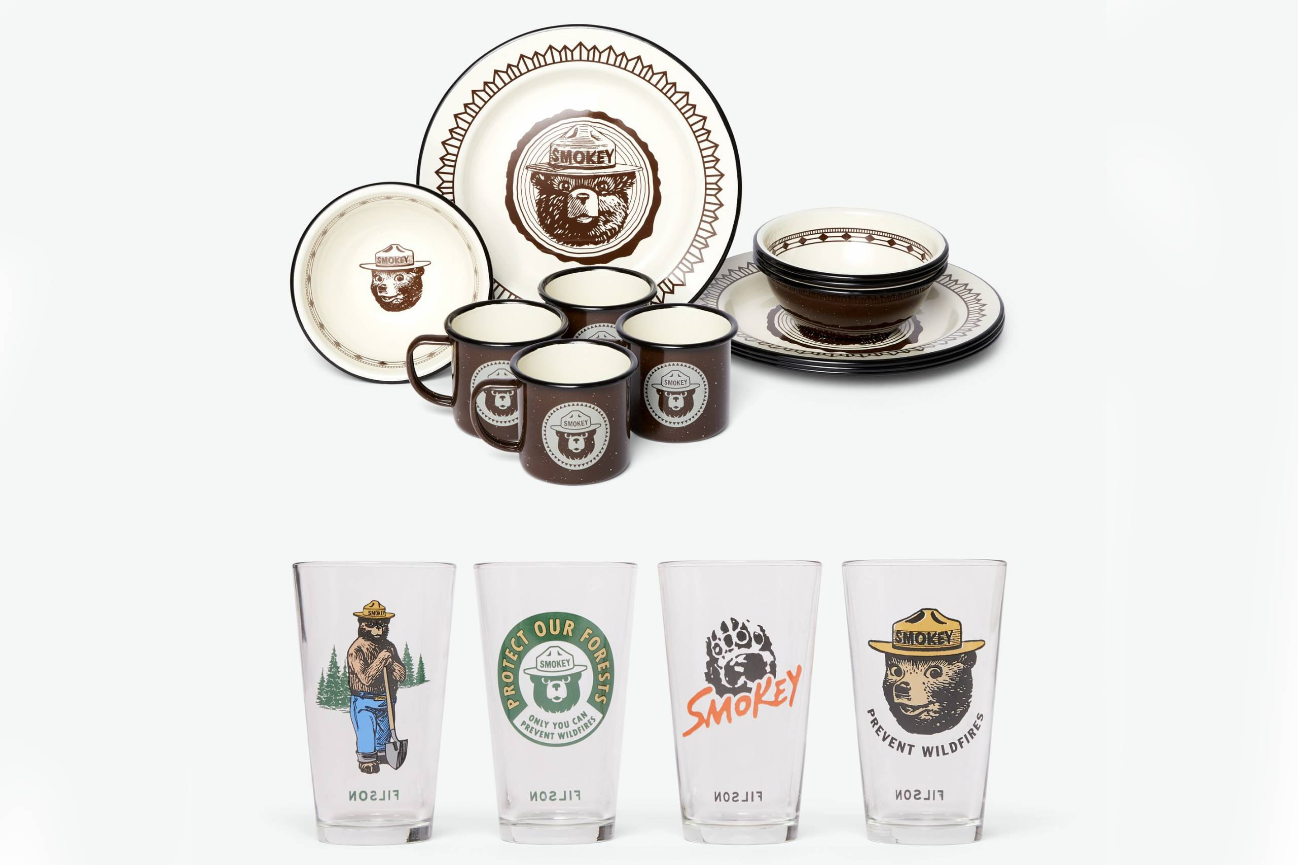 Filson x Smokey the Bear glassware