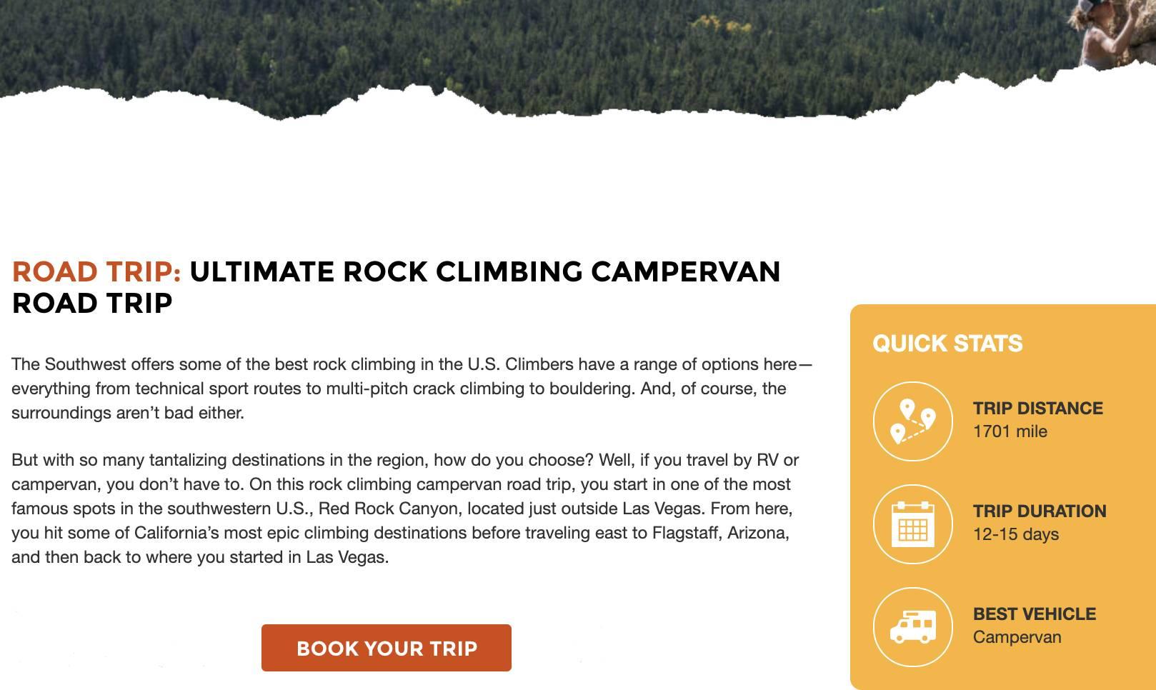 a webpage describing a week-long Travellers Autobarn Kuga Campervan itinerary