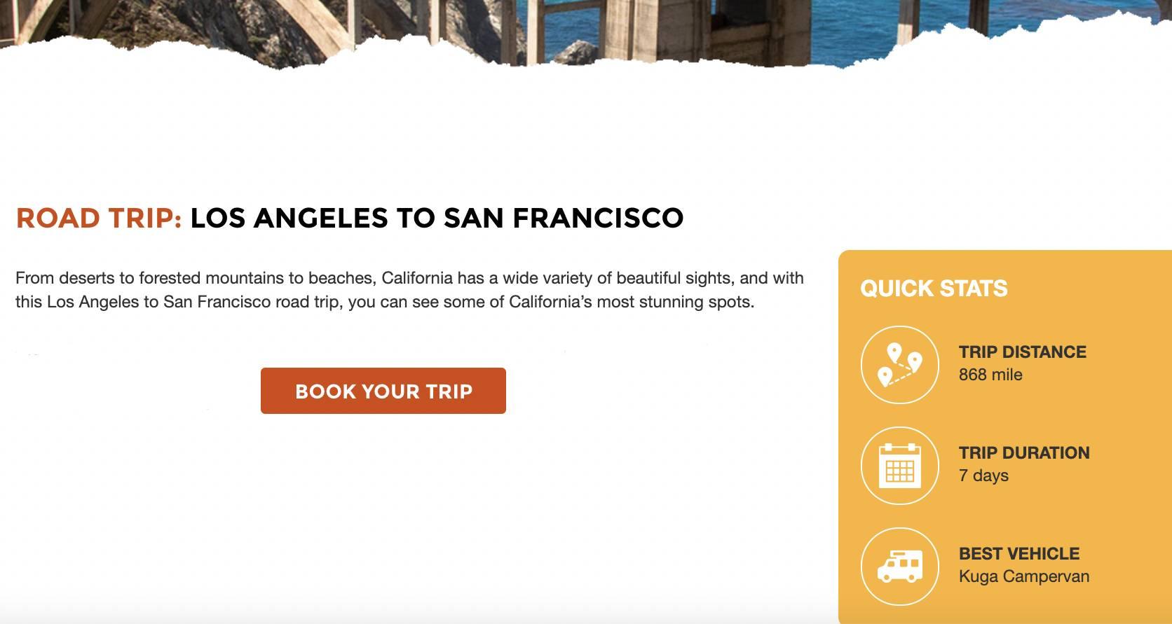 a webpage showing Travellers Autobarn Kuga Campervan itinerary