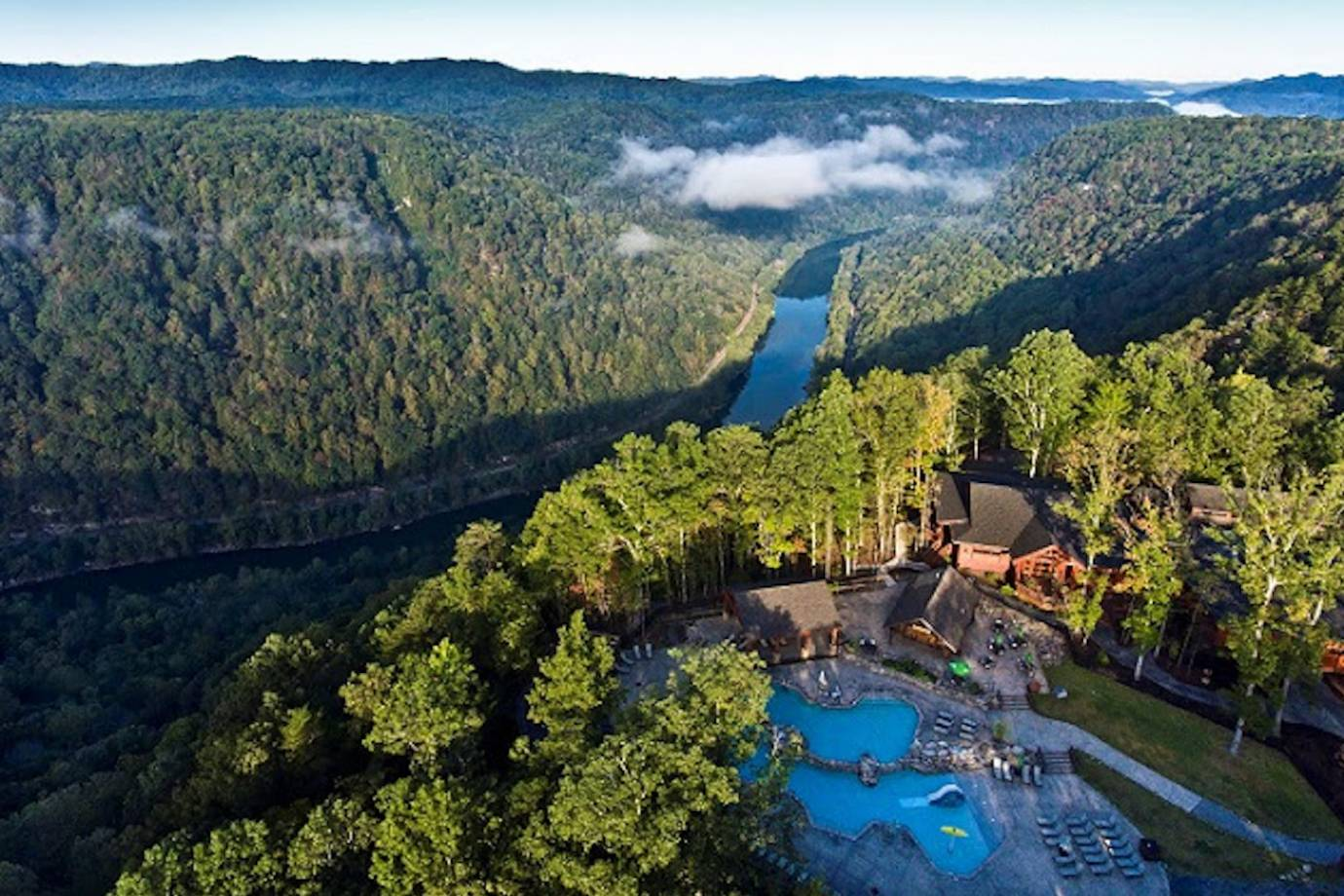 aerial view of lower river of the new river gorge, west virginia