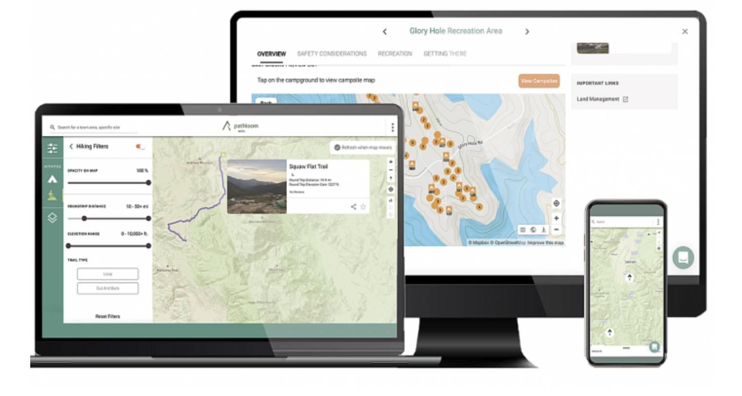 pathloom app maps on laptop, desktop, and mobile screens