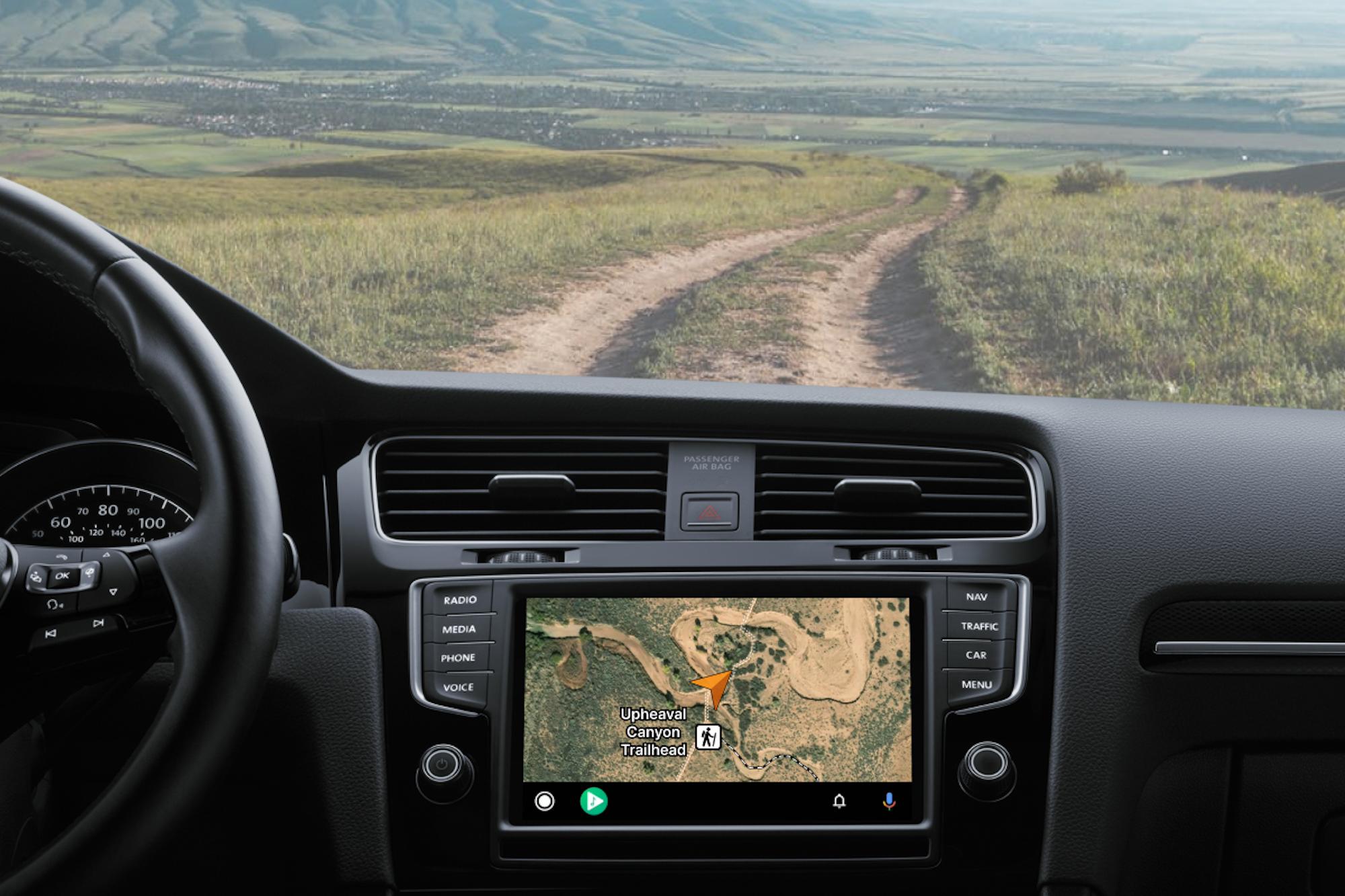Gaia GPS on screen dash