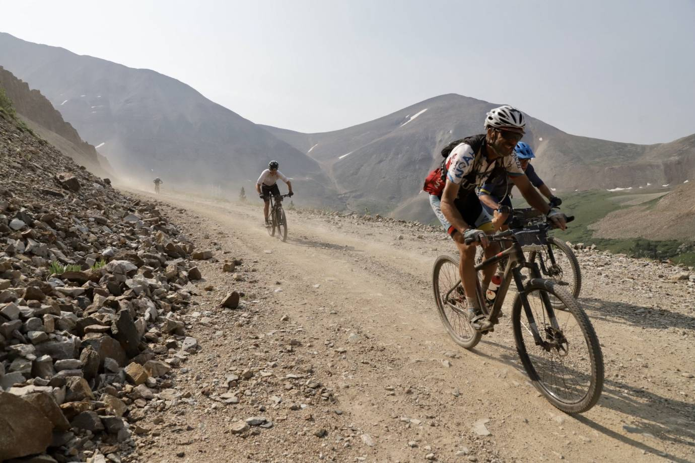 gravel cyclists riding in the Leadville Race Series 5-mile Silver Rush MTB