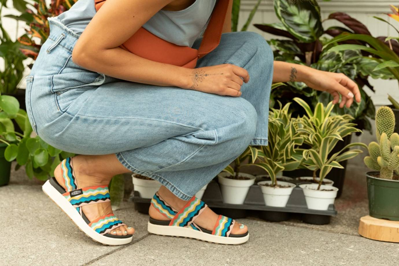 Woman Plant Shopping in KEEN Elle Backstrap Sandal
