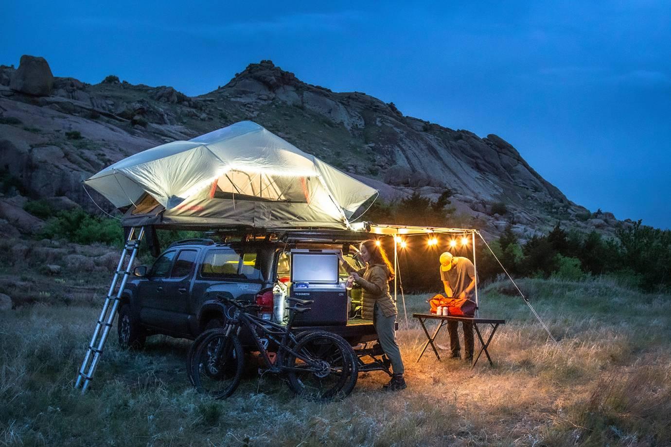 REDARC rooftop tent and camp overhang