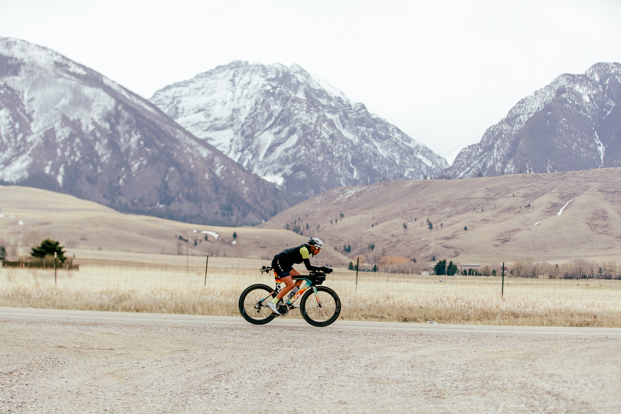 Vanessa Foerster road cycling against Colorado mountain backdrop