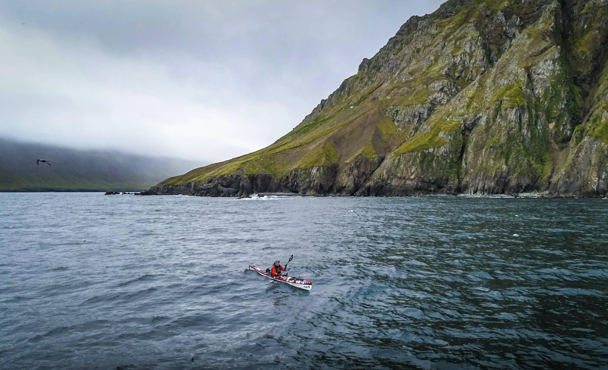 Veiga Gretarsdottir kayaking around Iceland in vast body of water