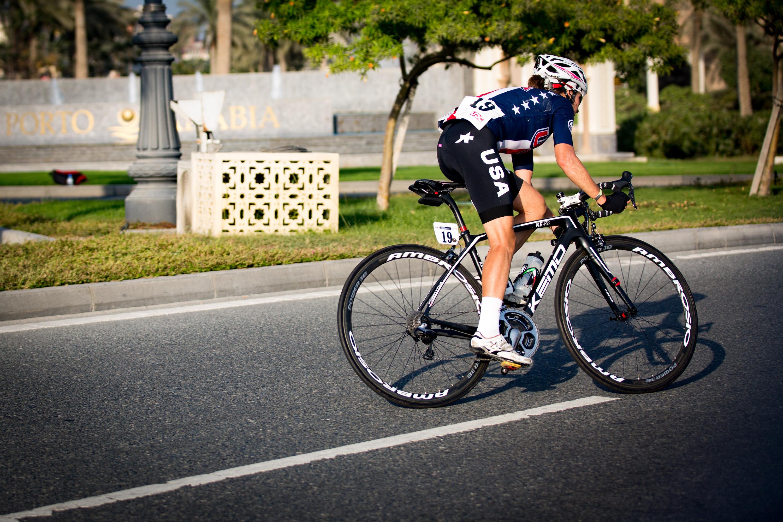 U.S. cyclist Amber Neben cycling around a corner in an elite road race