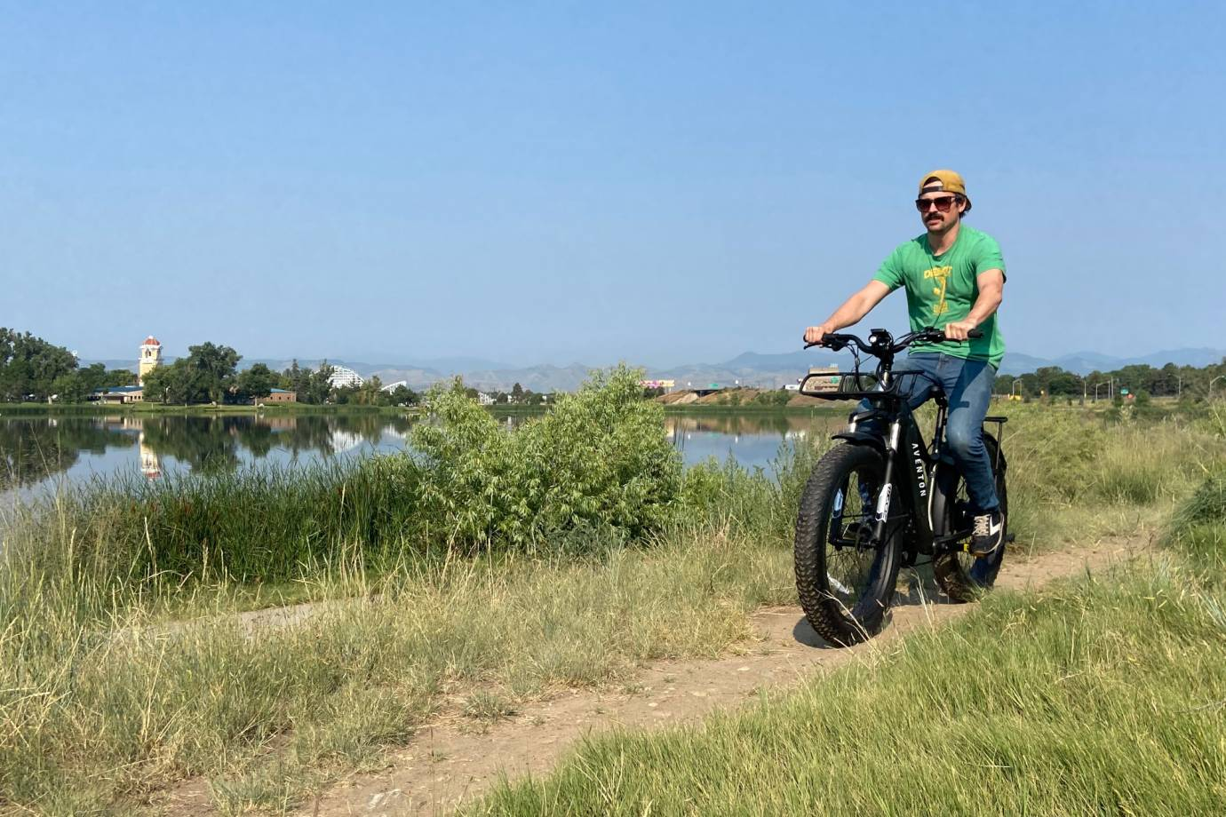 aventon Avelon all terrain e-bike commuter on trail