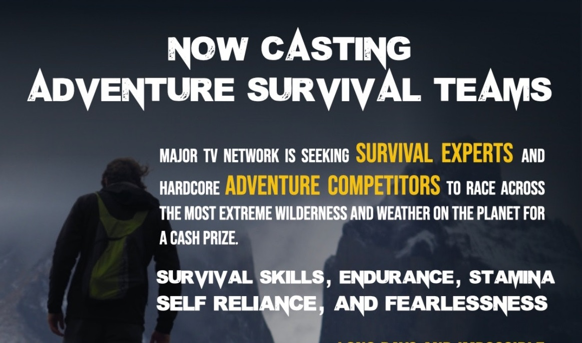 """casting call graphic from NBCUniversal with text that reads """"now casting adventure survival teams"""""""