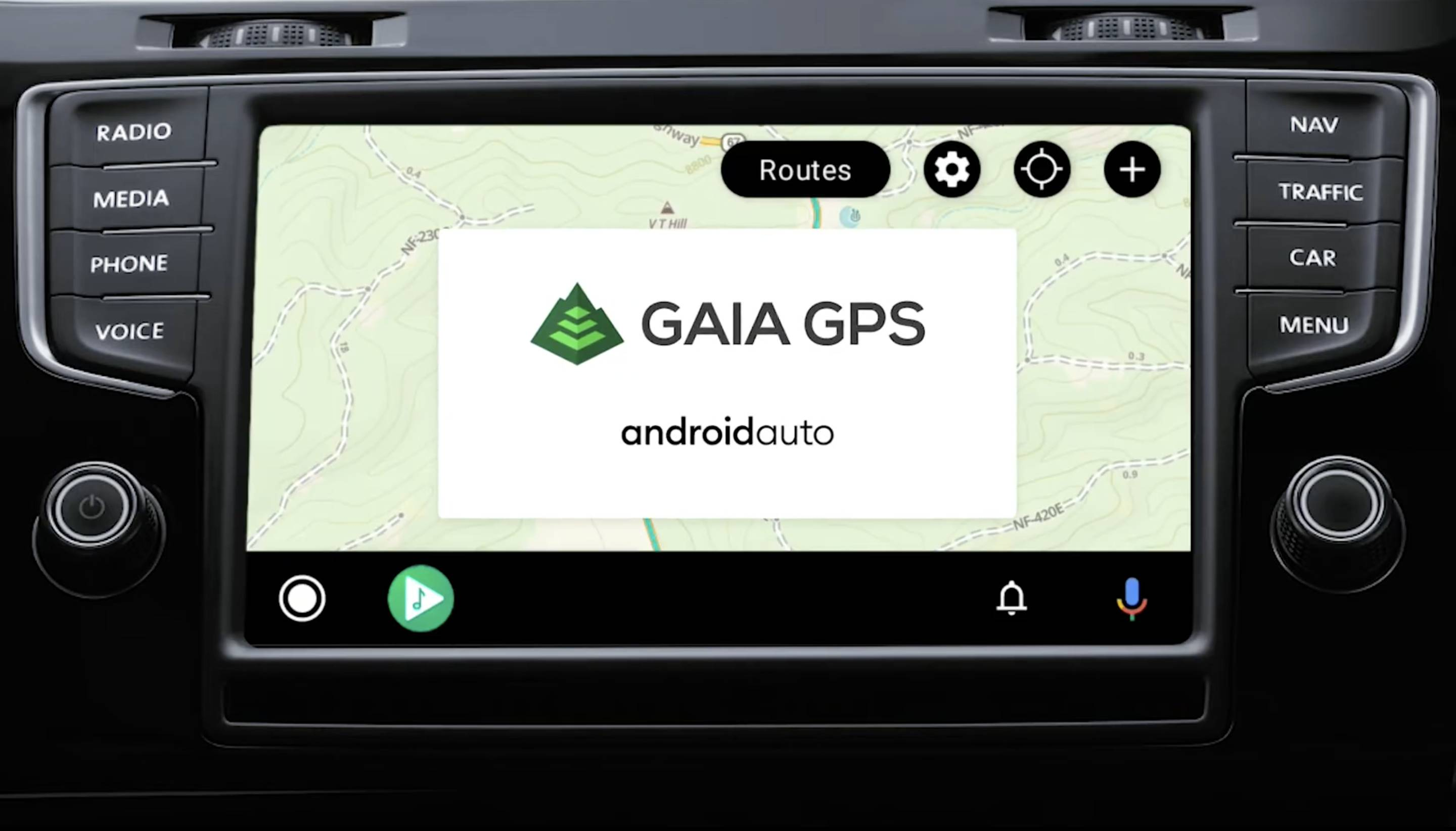 gaia gps android auto feature on screen on car dash