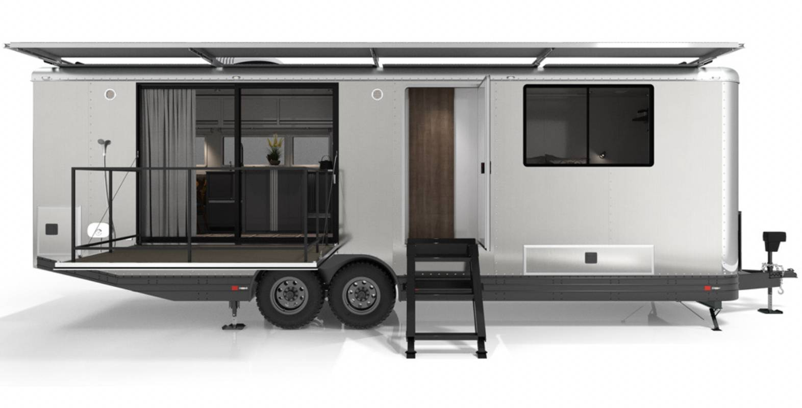living vehicle base model trailer with deck and steps