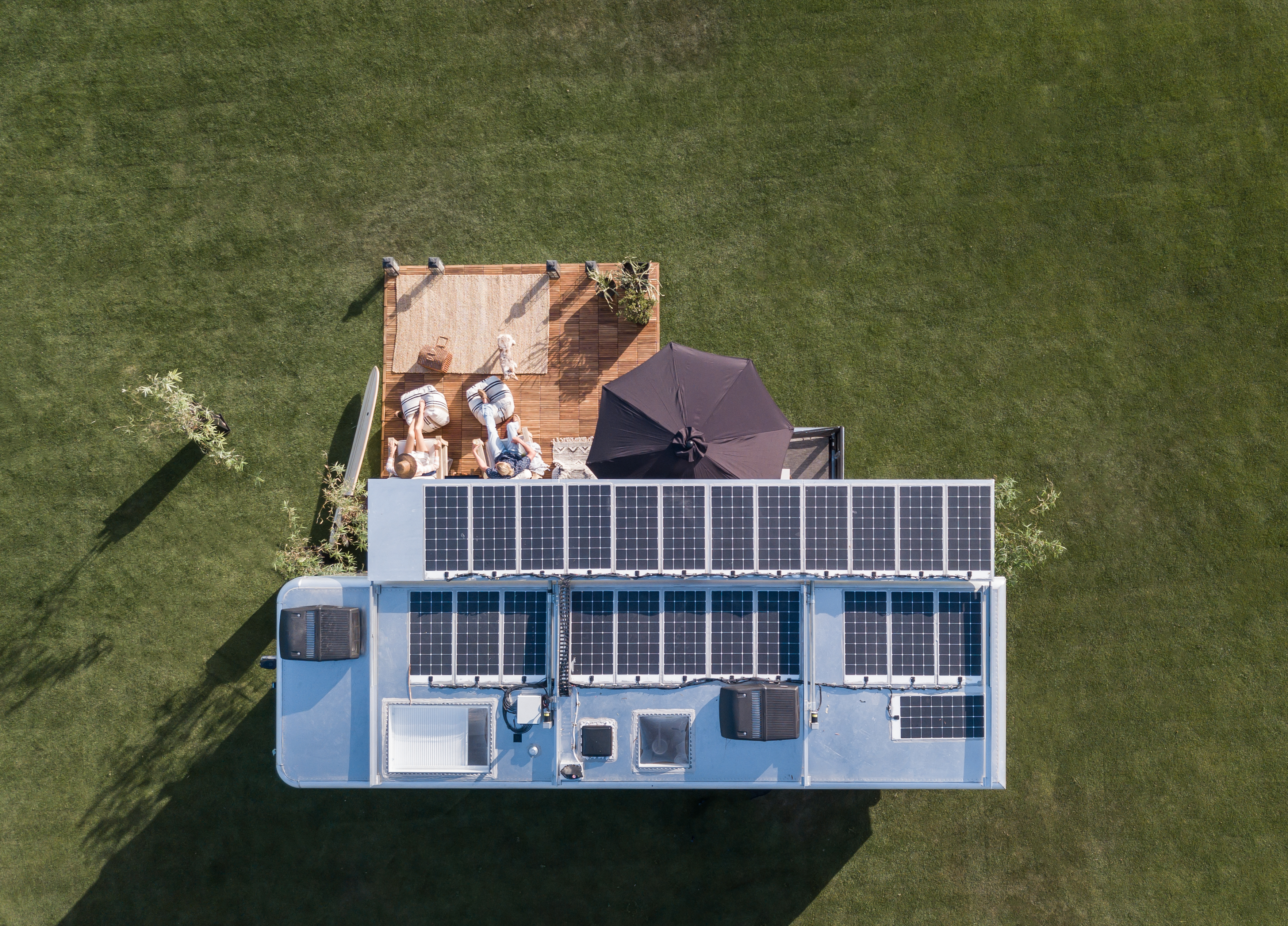 living vehicle solar panels from above