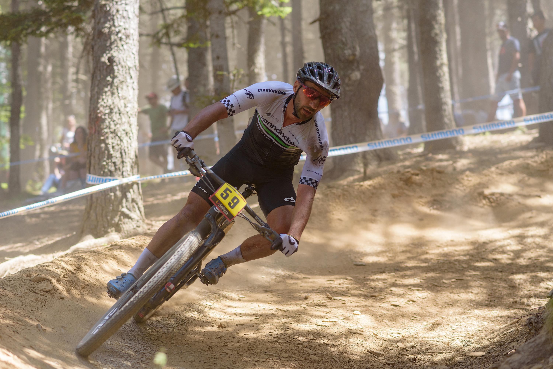 German athlete Manual Fumic riding mountain bike downhill