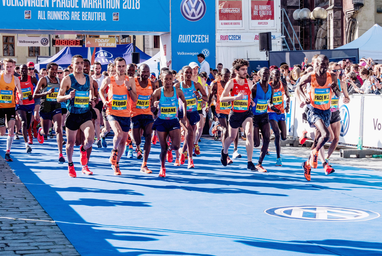 runners at the Prague Marathon in 2018
