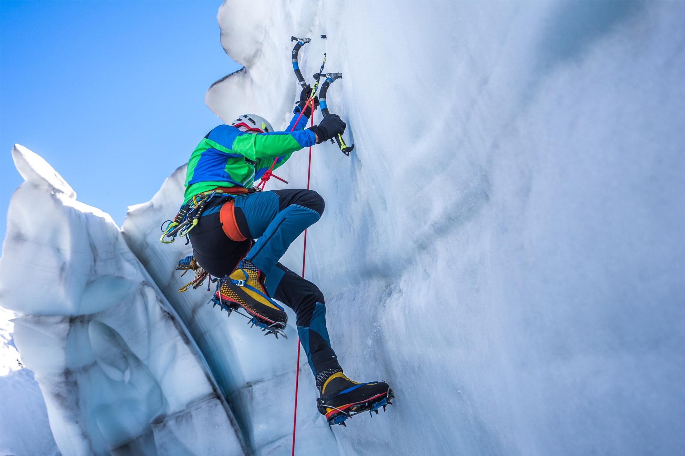climber wearing mountaineering climbing harness