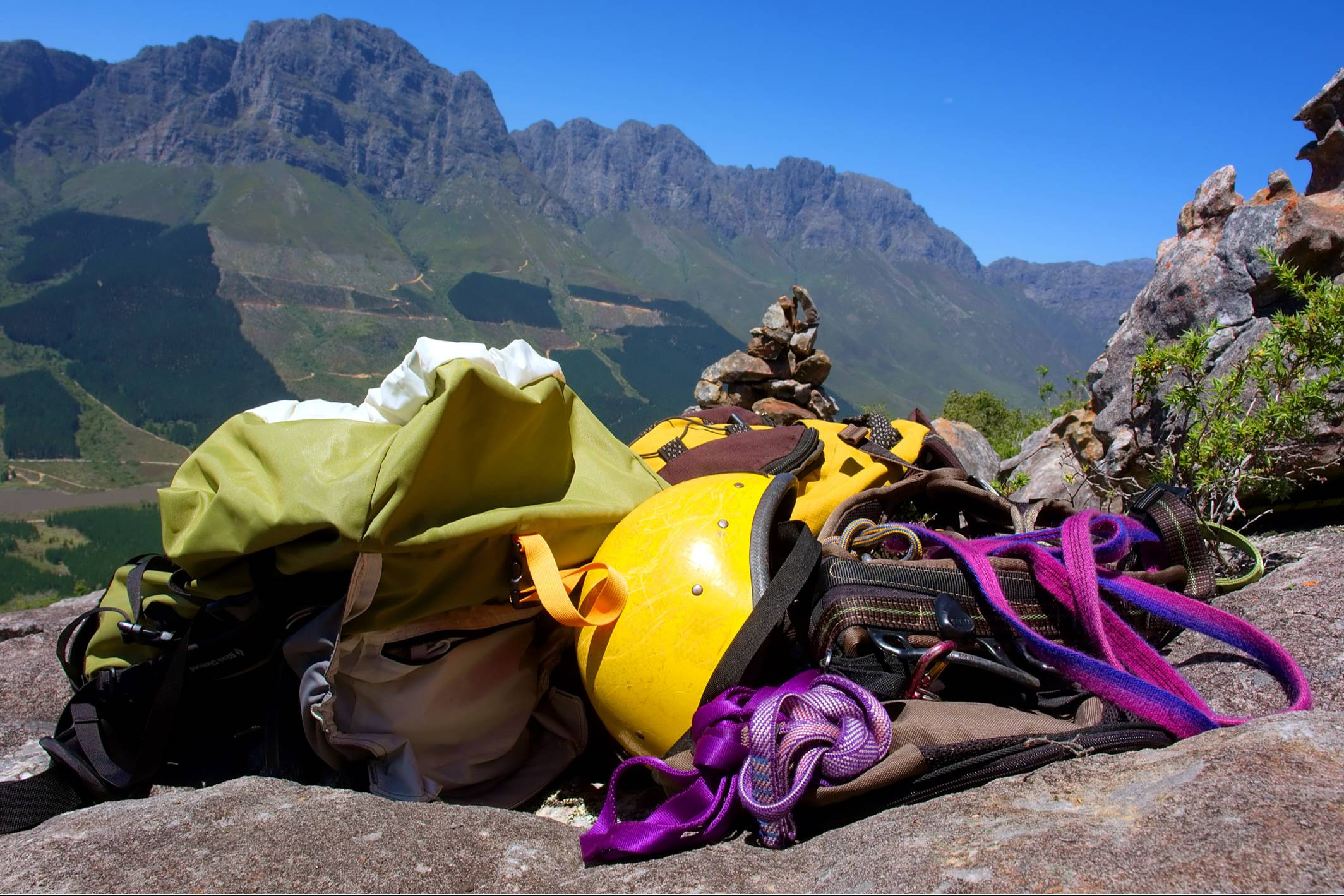 Outdoor gear on mountain trail