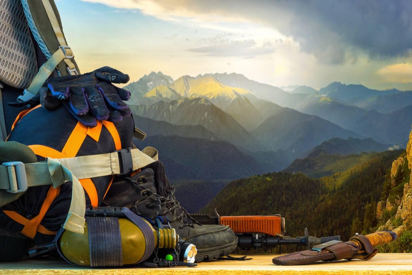 Used gear, mountain backdrop