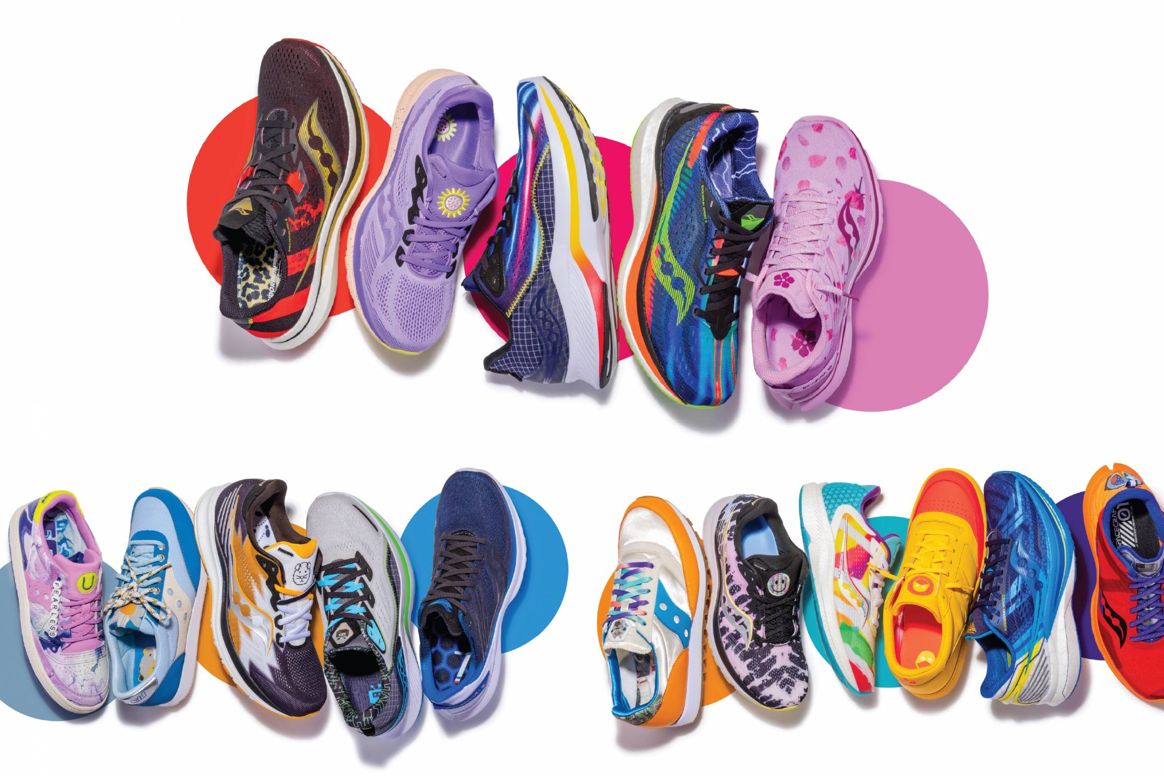 a dozen colorful pairs of Saucony special edition shoes