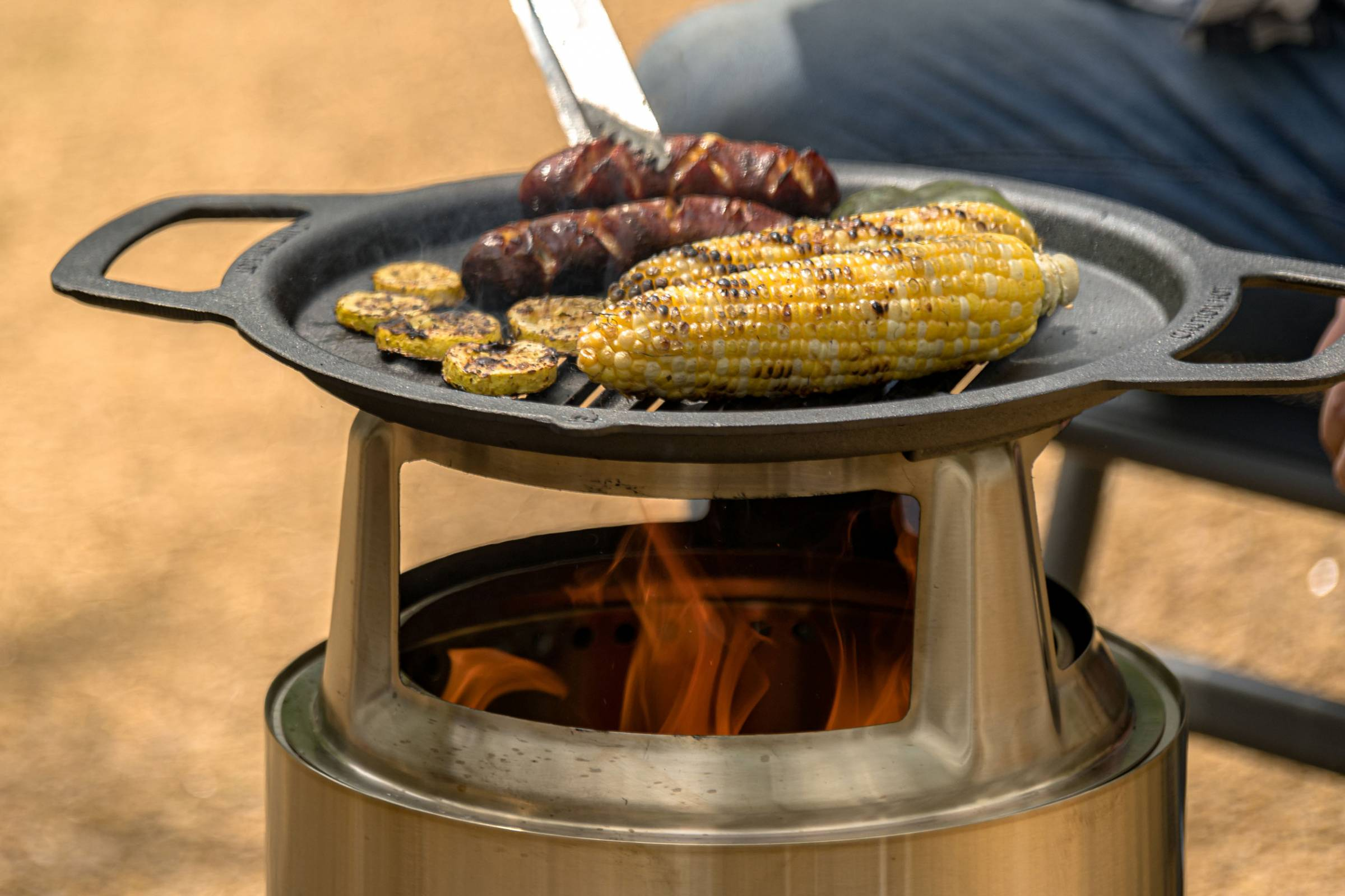 solo fire pit cooking system