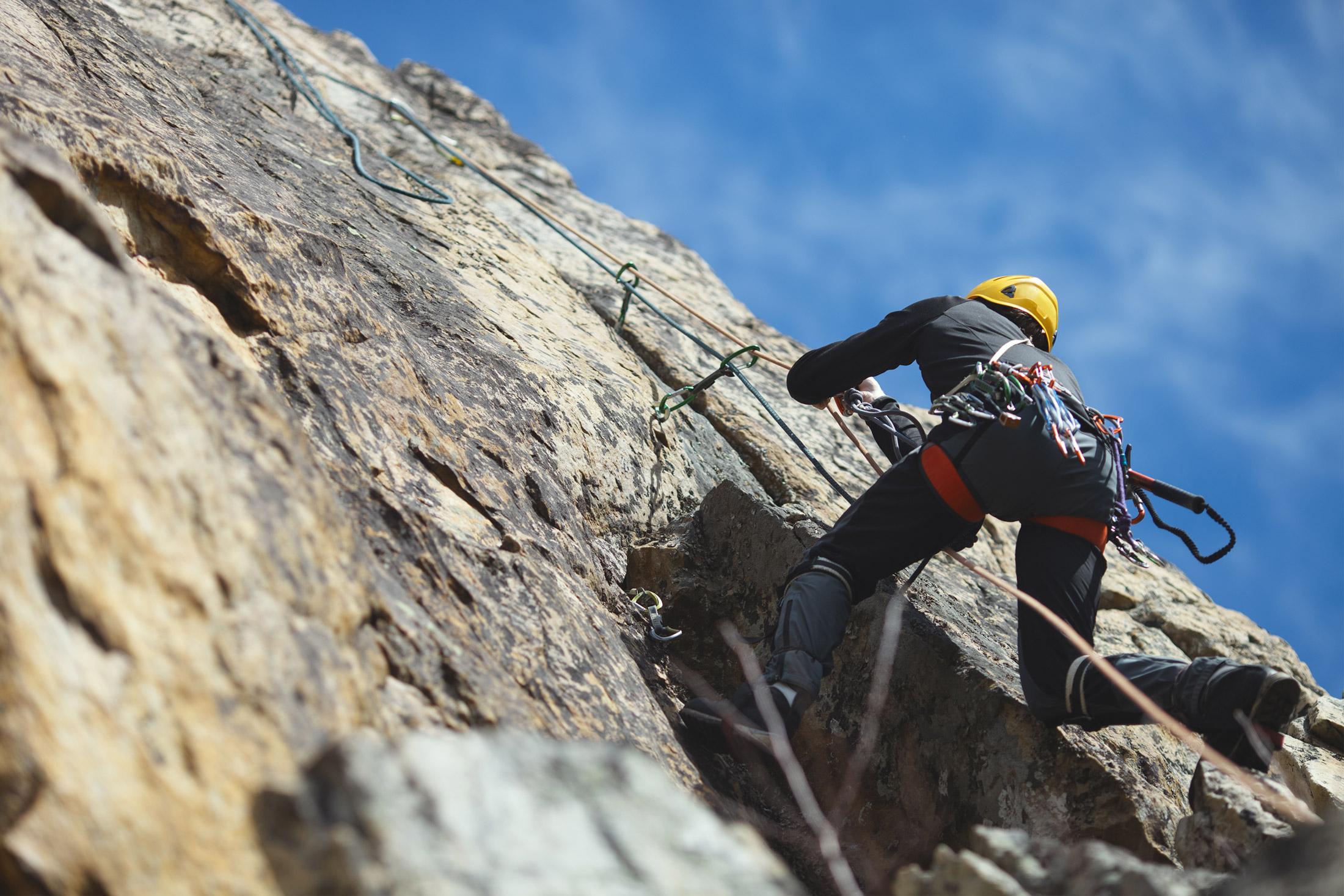 climber wearing sport climbing harness