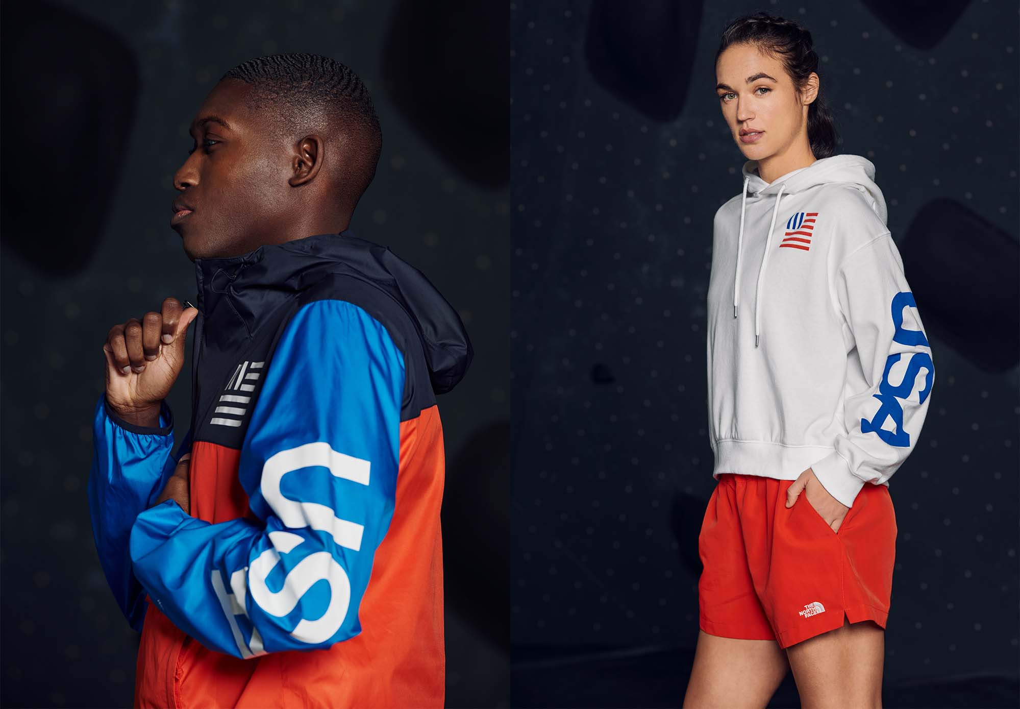 two young people wearing the north face red white and blue international apparel
