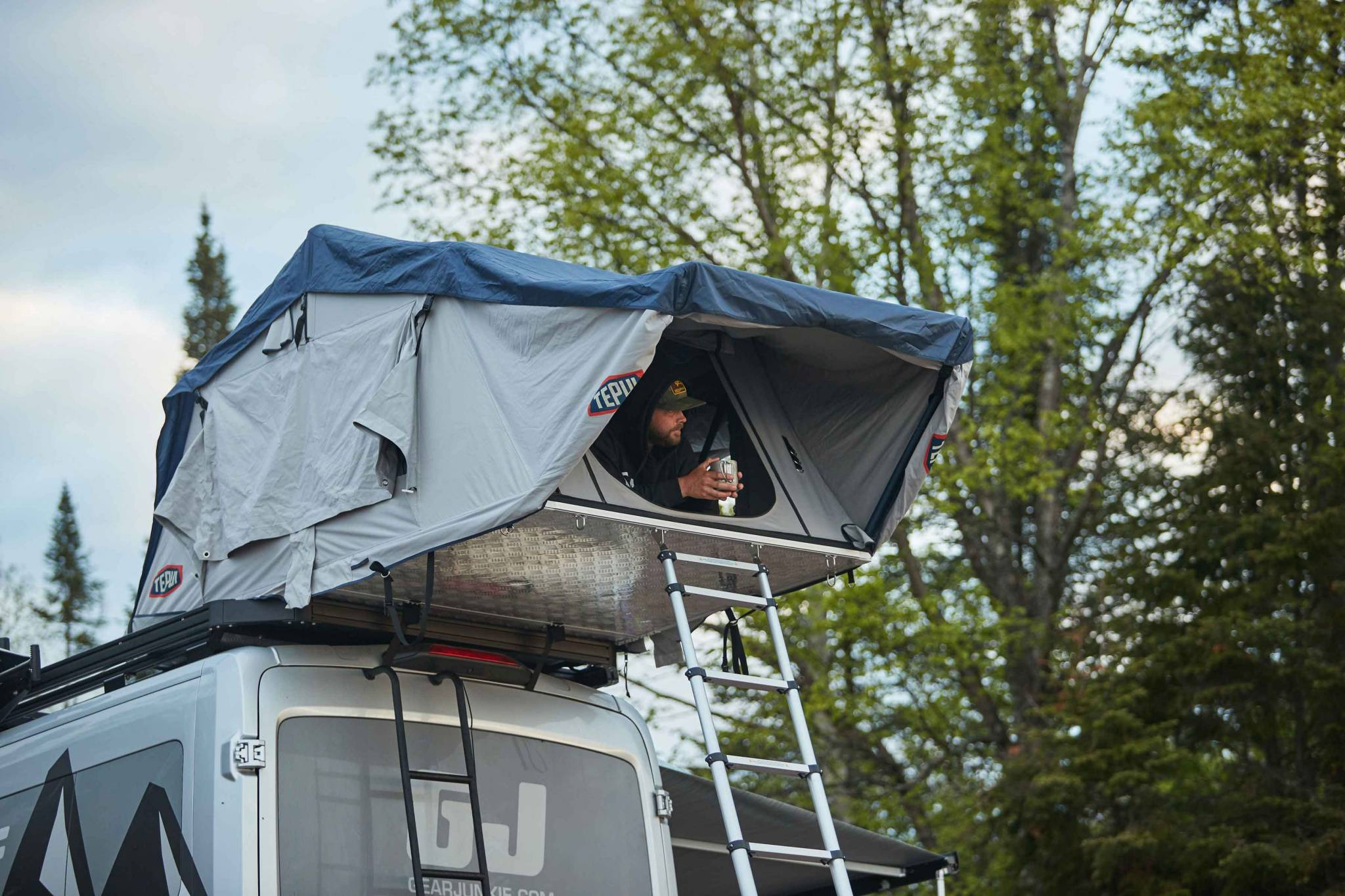 ford transit with rooftop tent