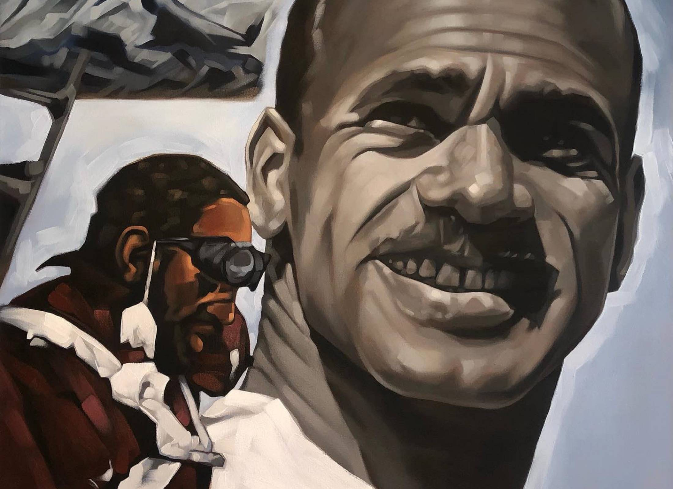 Portrait of Charles Crenchaw, the first black mountaineer to summit the denali. Commissioned by Outdoor Research and Seirus. Original painting by Lamont Joseph White, c. 2021