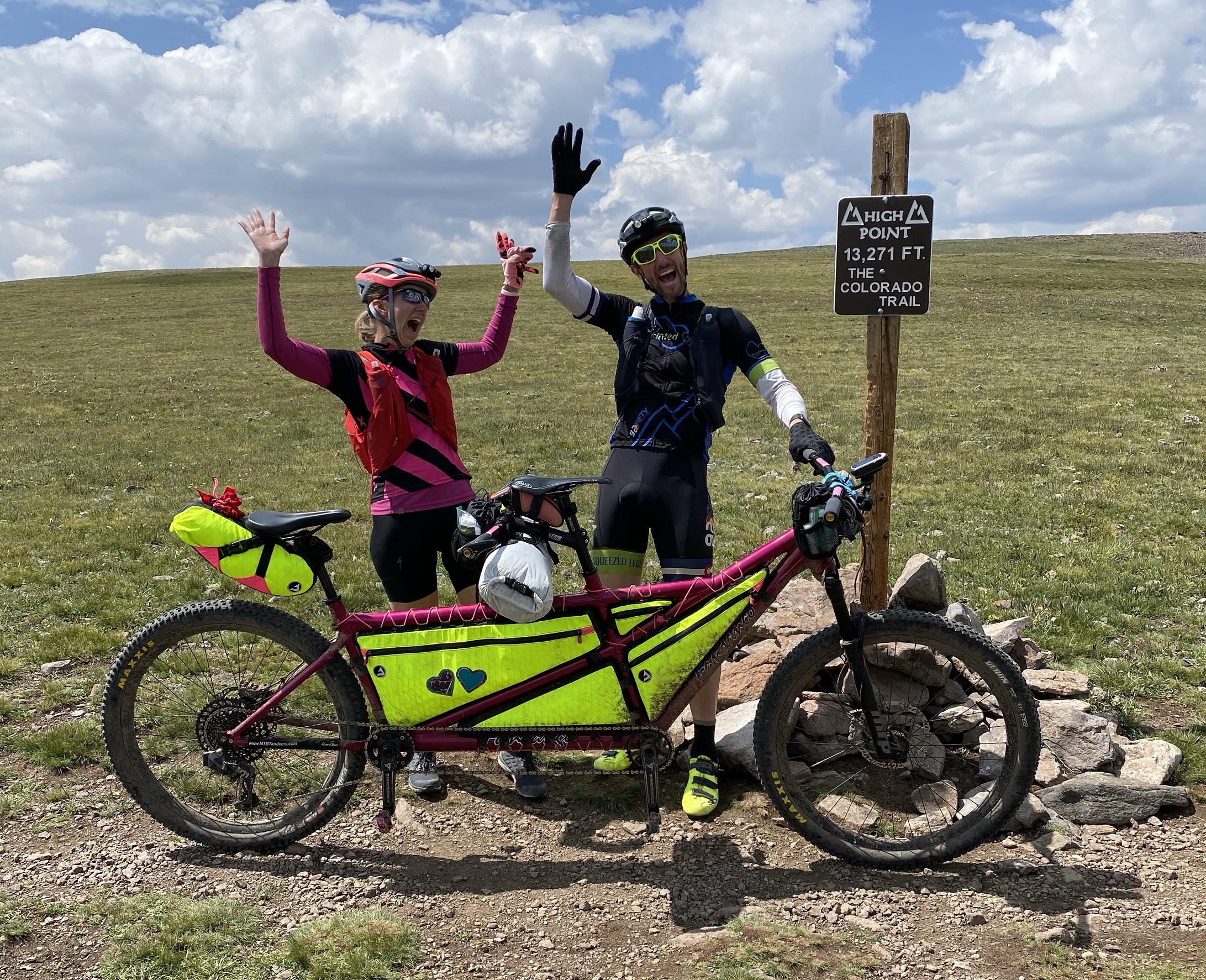 The Pleskos with their Tandem MTB on the Colorado Trail