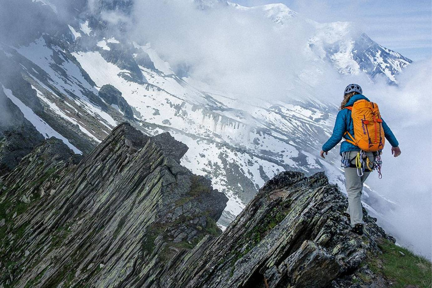 Hiker on Mountain in Patagonia Gear