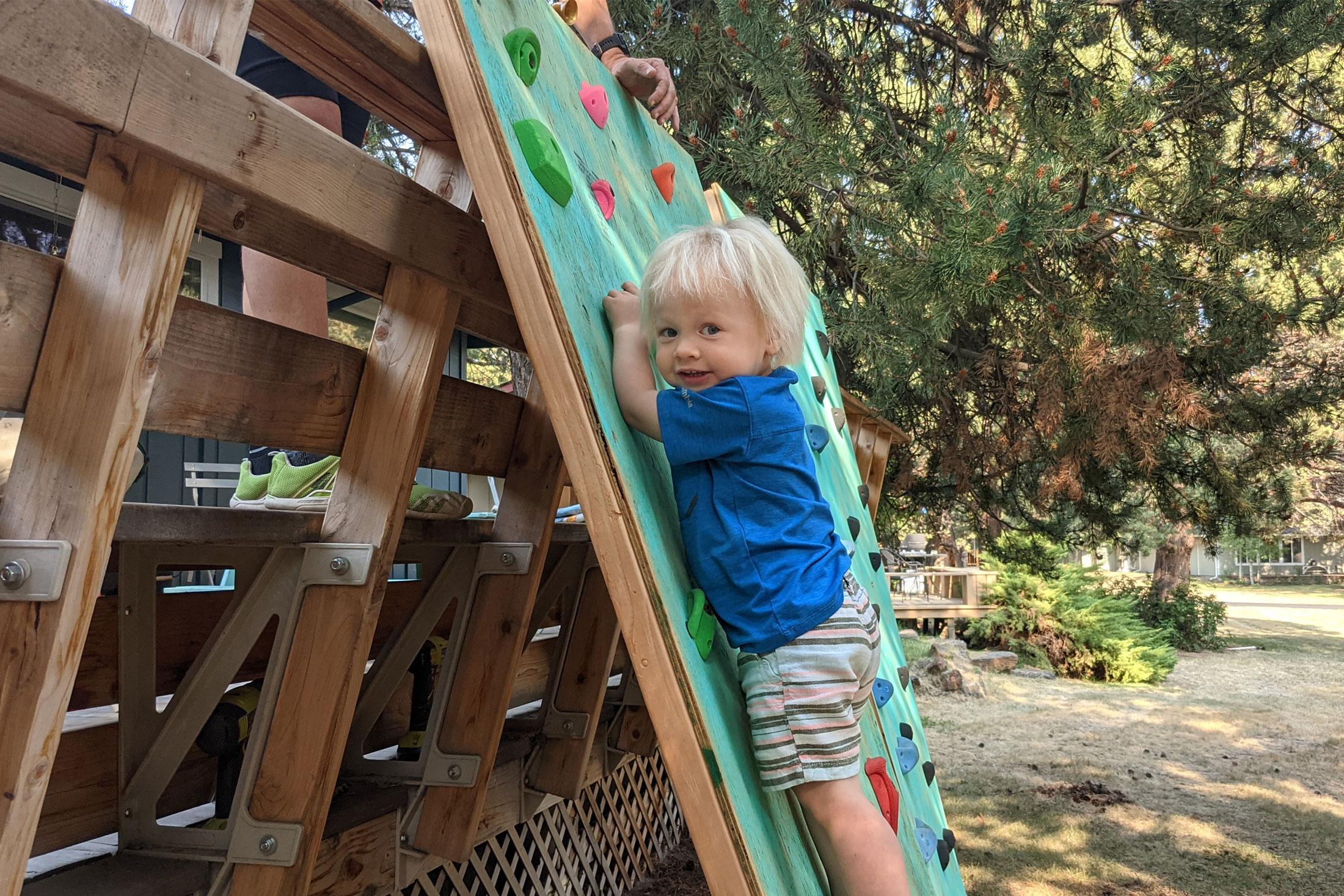 dyi climbing wall for kids