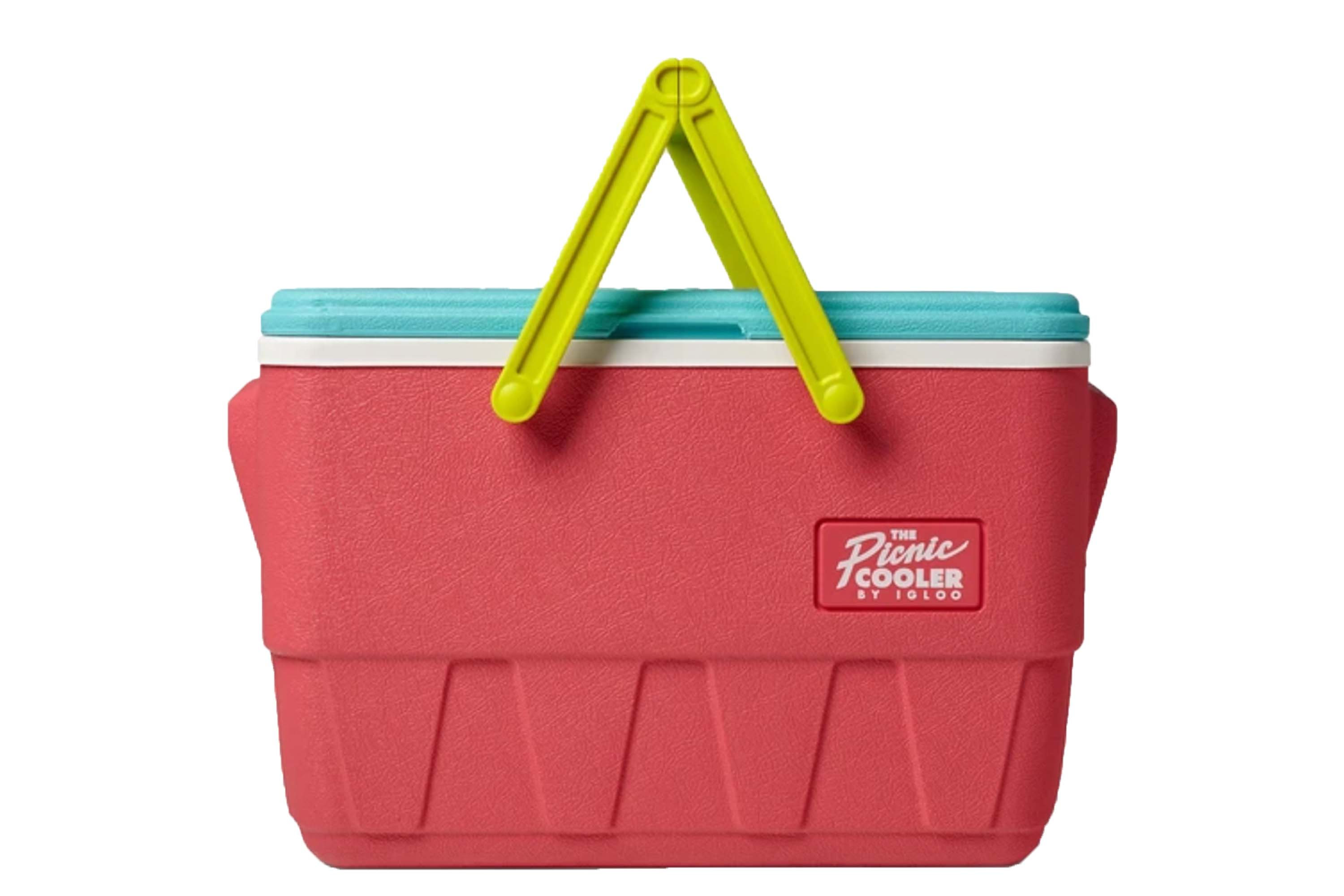 igloo retro cooler with red body and watermelon handles and lid